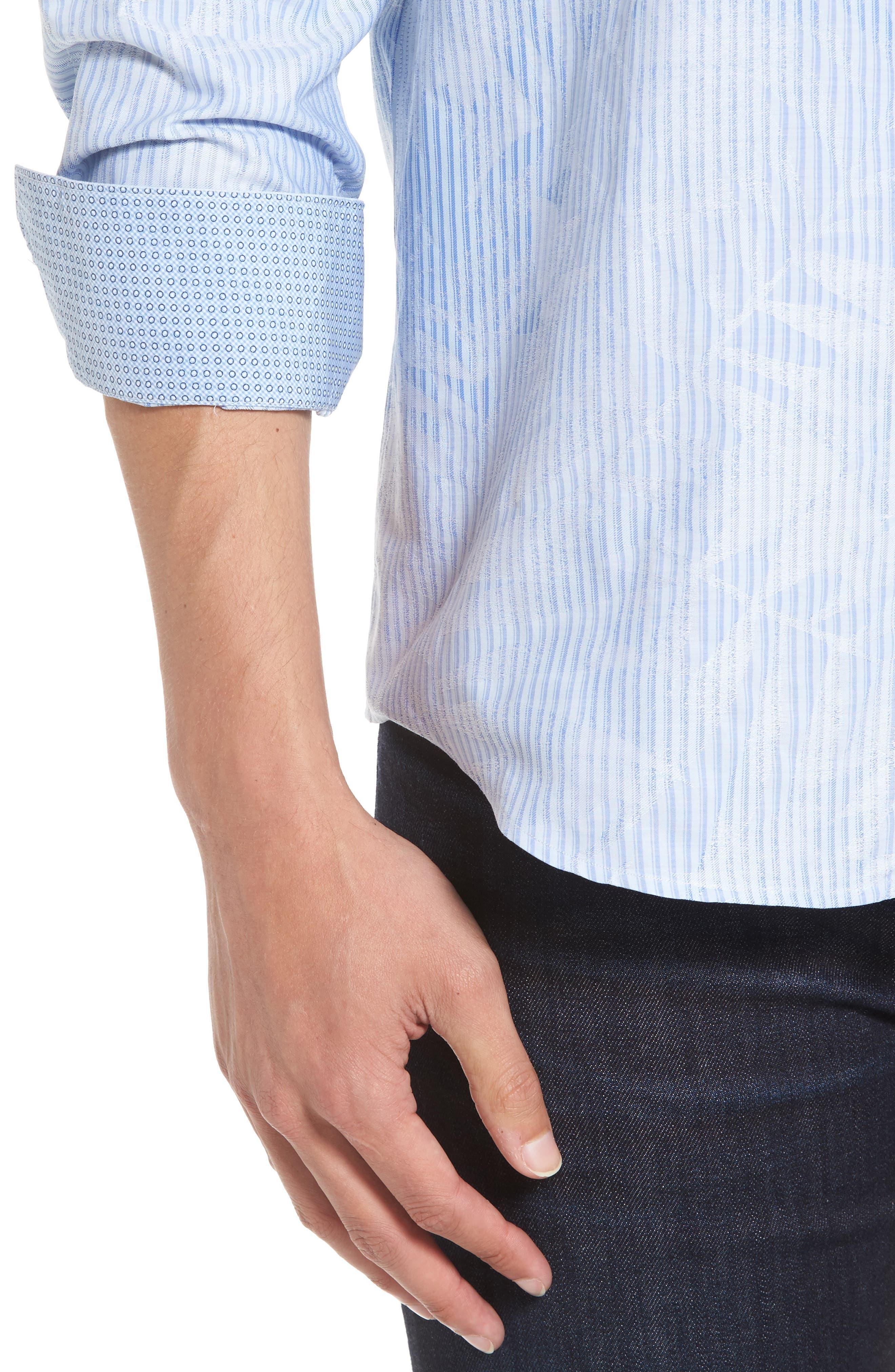 Alternate Image 5  - Bugatchi Shaped Fit Floral Stripe Sport Shirt