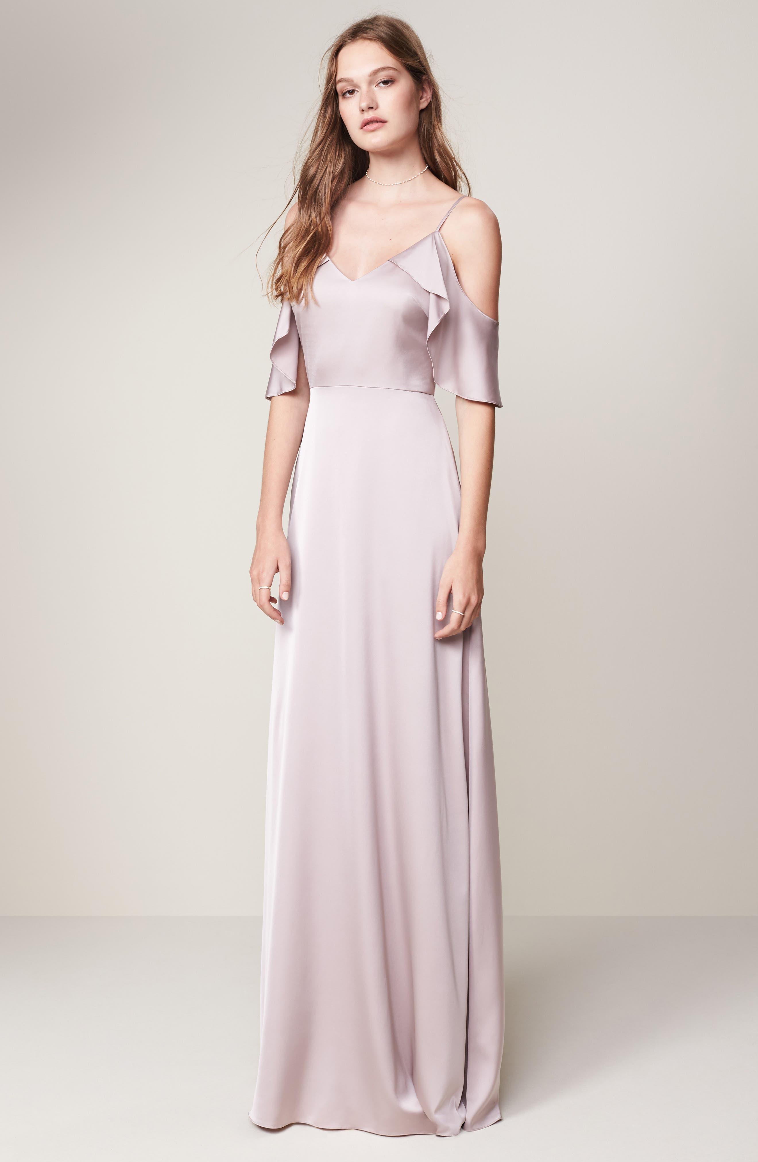 Alternate Image 2  - Monique Lhuillier Bridesmaids Isabel Sateen Cold Shoulder Gown