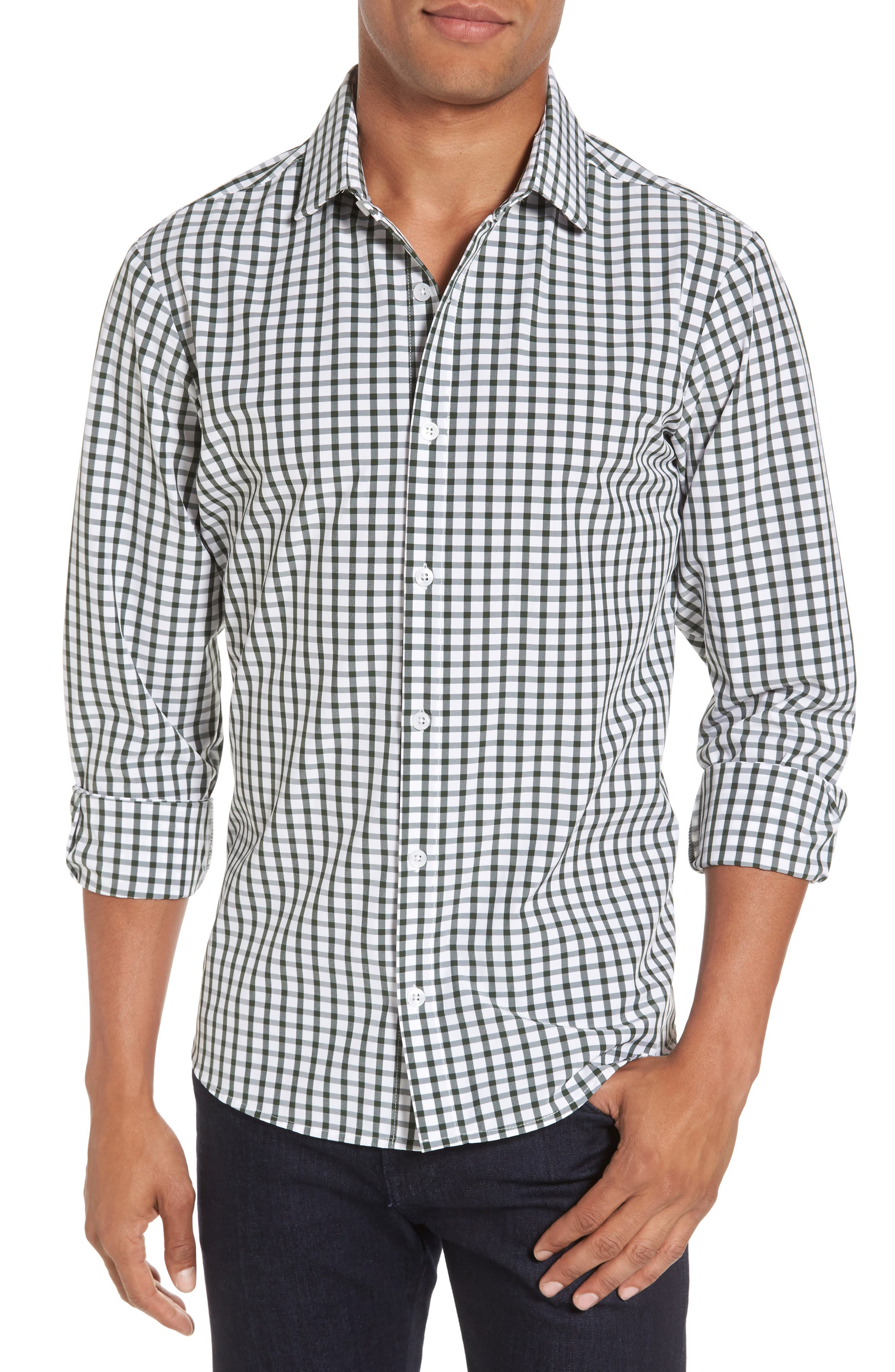 Turner Green Gingham Sport Shirt,                             Main thumbnail 1, color,                             Green