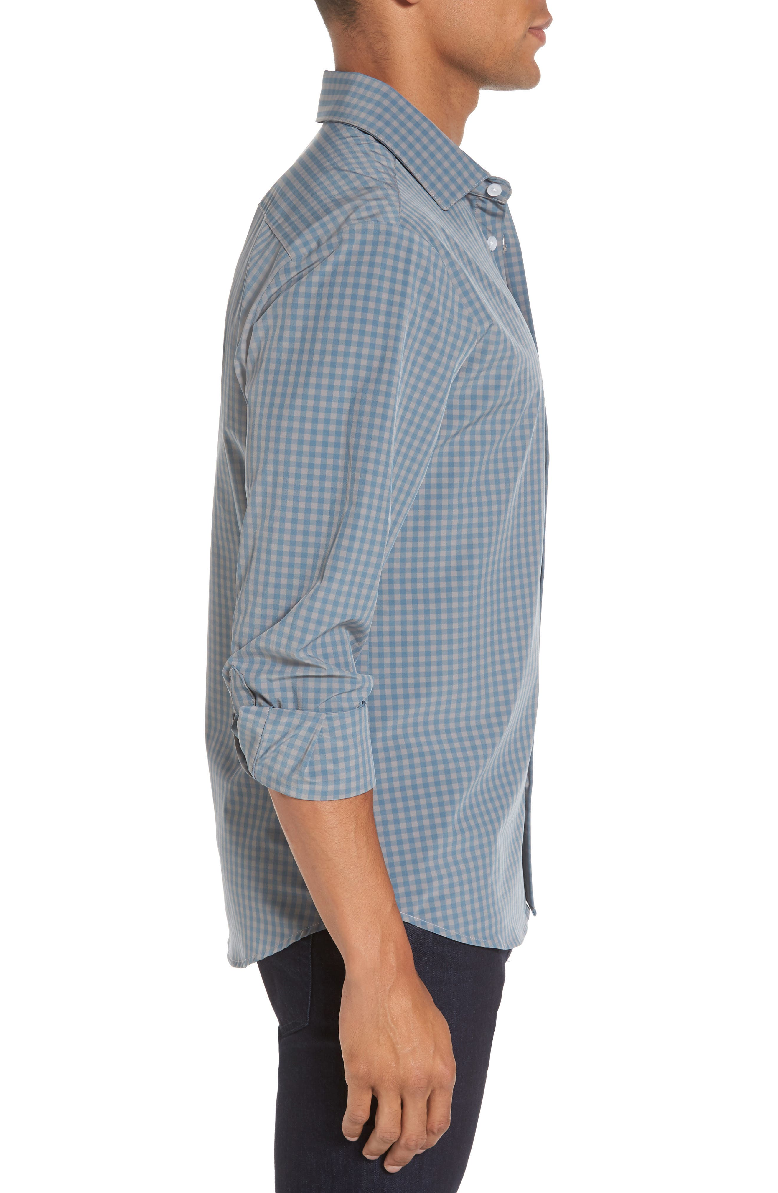 Knox Blue Smoke & Grey Gingham Sport Shirt,                             Alternate thumbnail 3, color,                             Blue