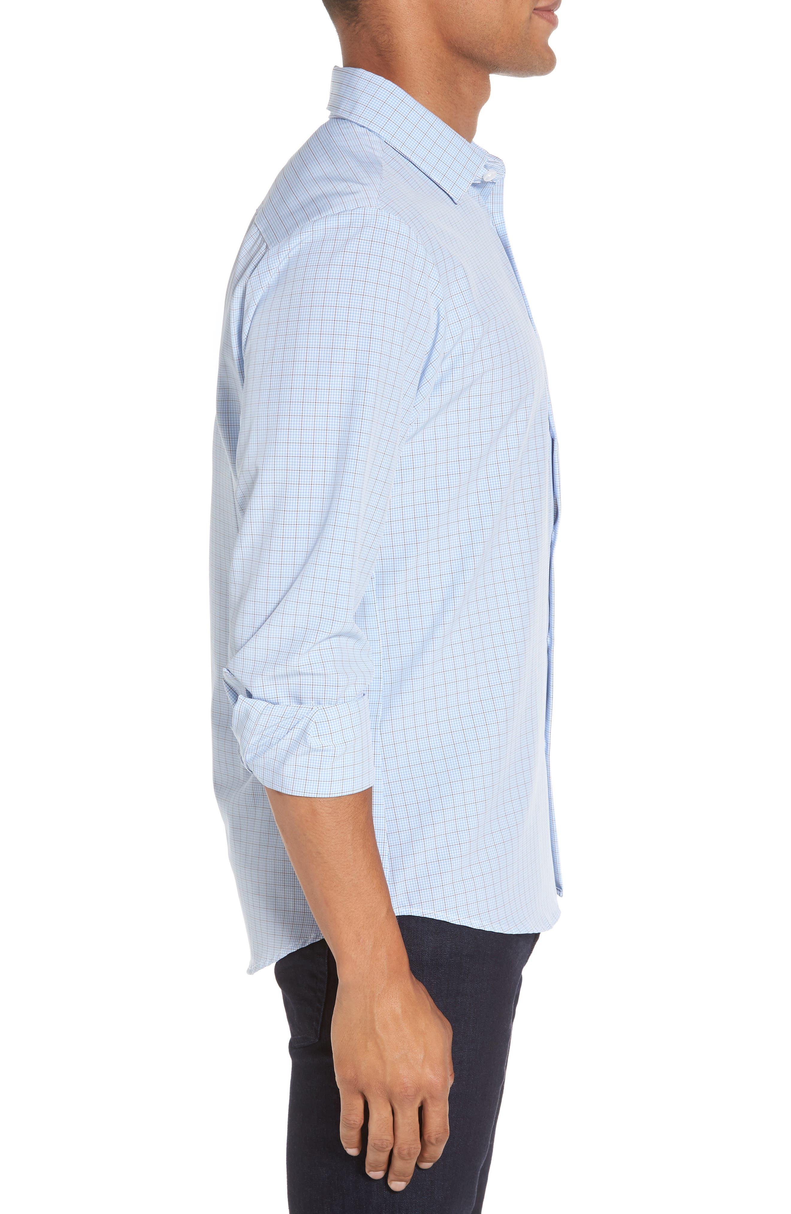 Davis Check Sport Shirt,                             Alternate thumbnail 4, color,                             Blue