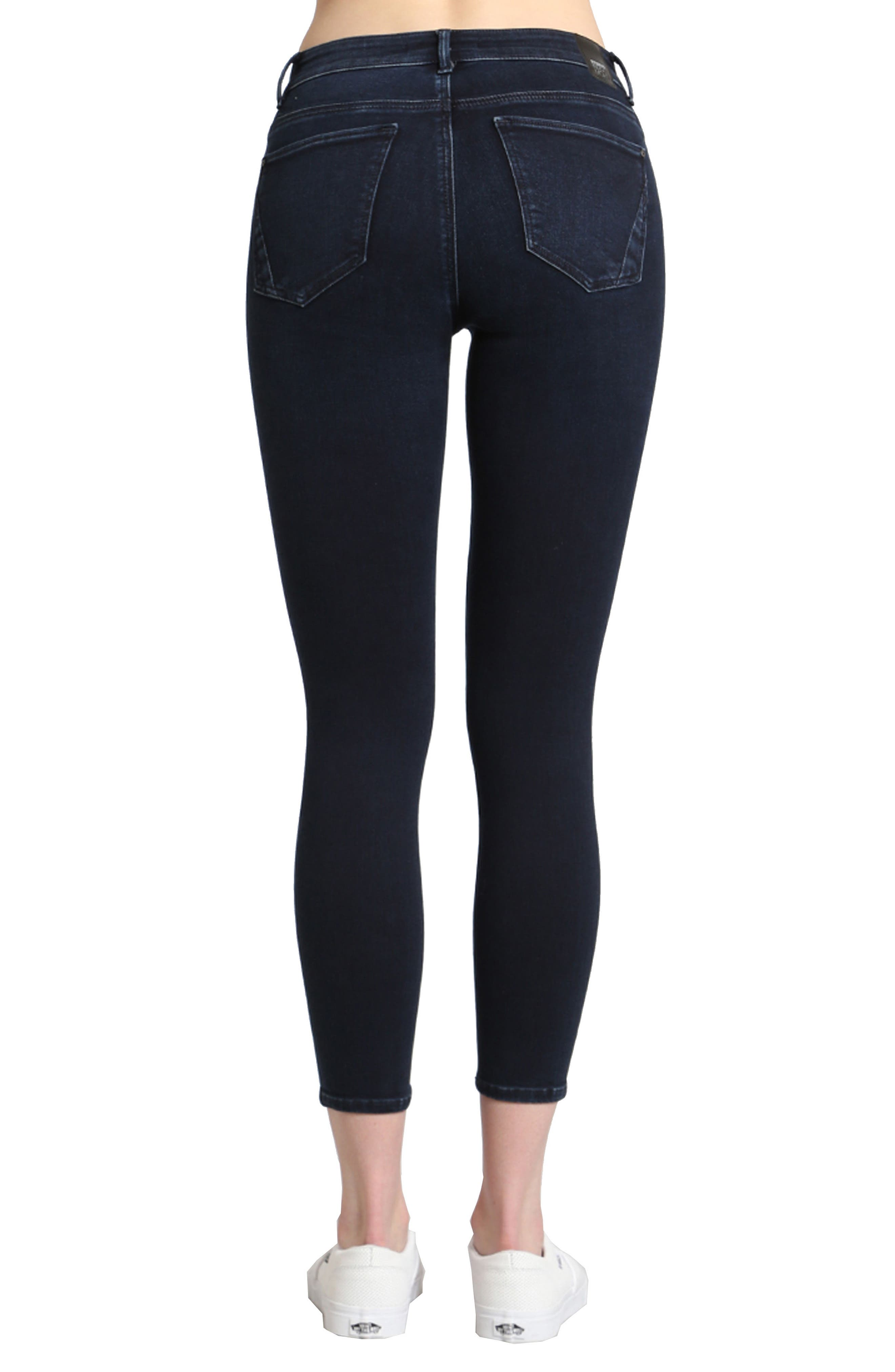 Tess Stretch Ankle Skinny Jeans,                             Alternate thumbnail 2, color,                             Ink Brushed Indigo Move