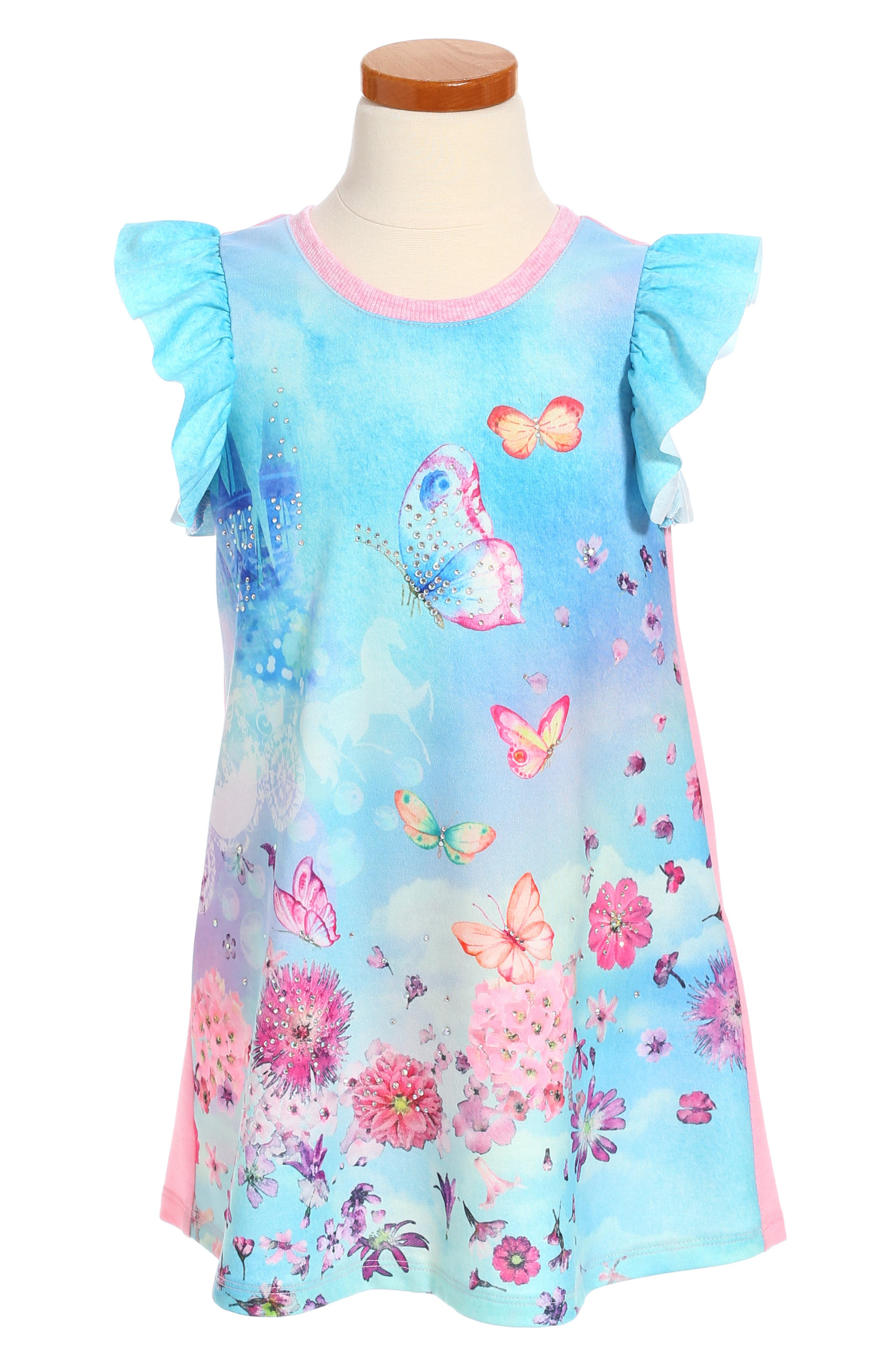 Truly Me Butterfly Print Dress (Toddler Girls & Little Girls)