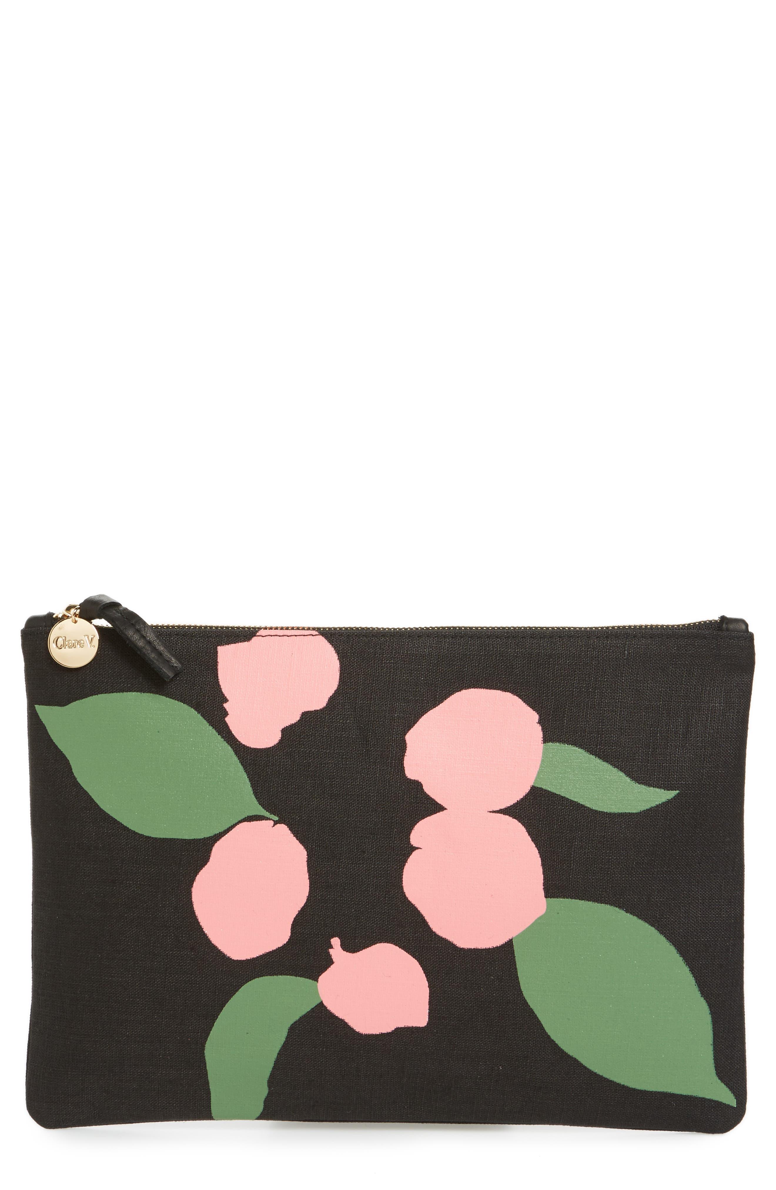 Bougainvillea Linen Clutch,                         Main,                         color, Black Linen With Pink
