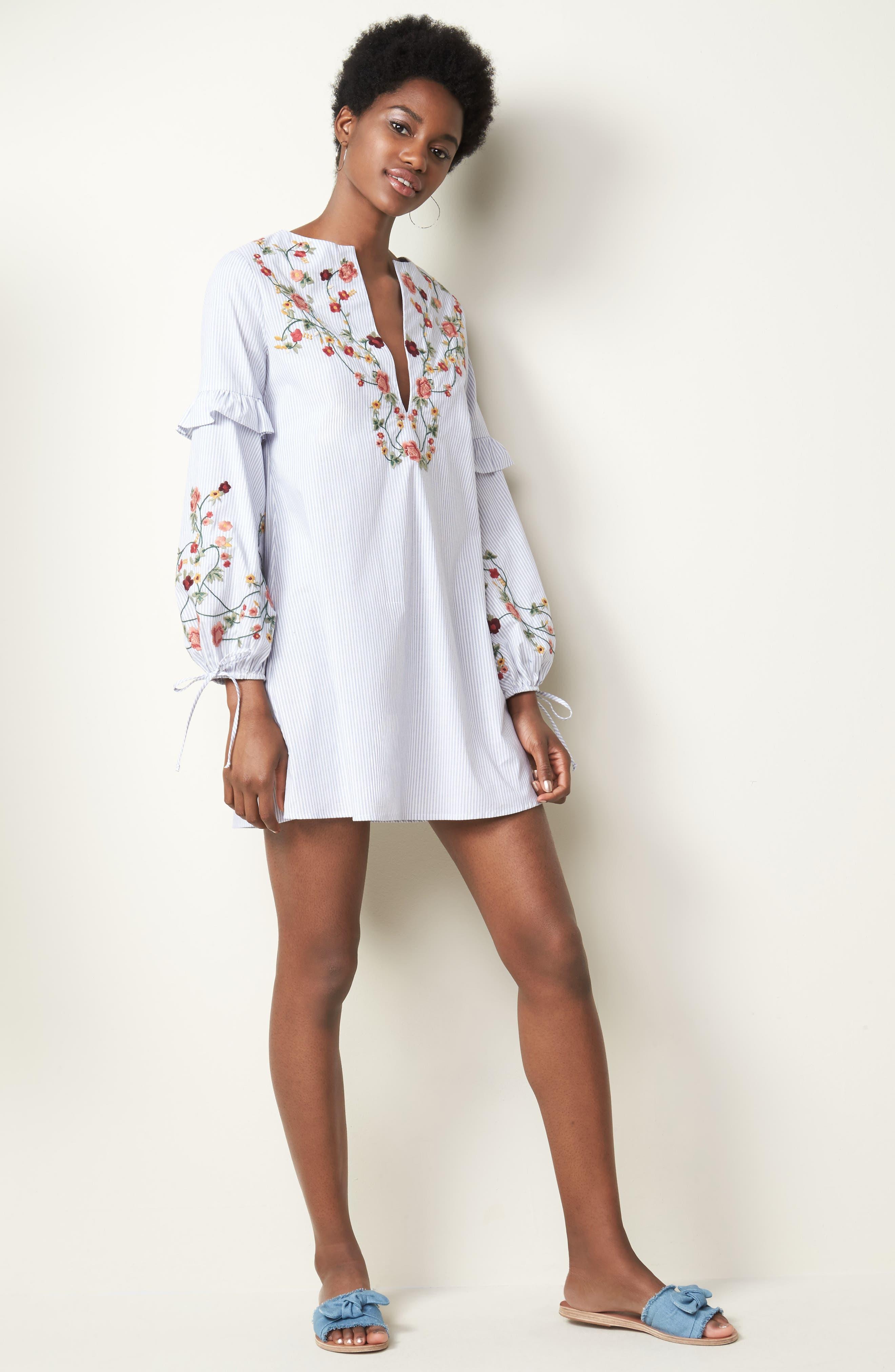 Embroidered Poplin Dress,                             Alternate thumbnail 2, color,                             White/ Blue