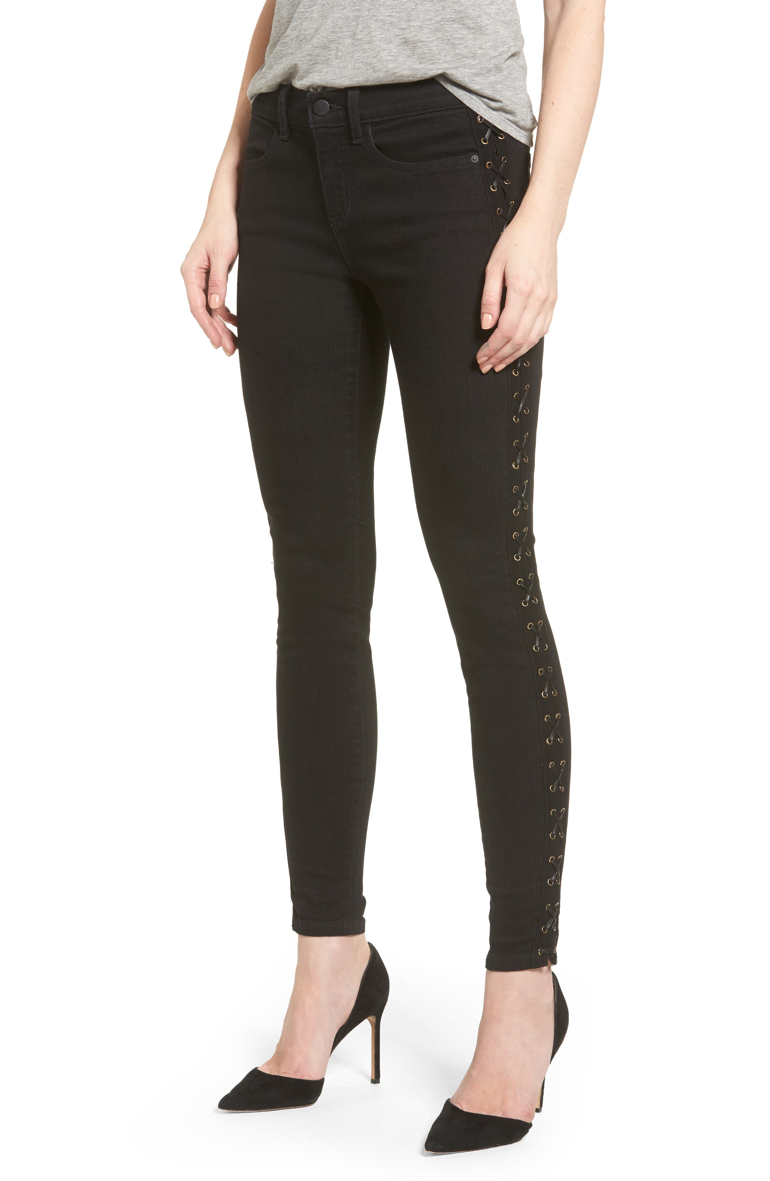 SP Black Lace-Up Skinny Jeans