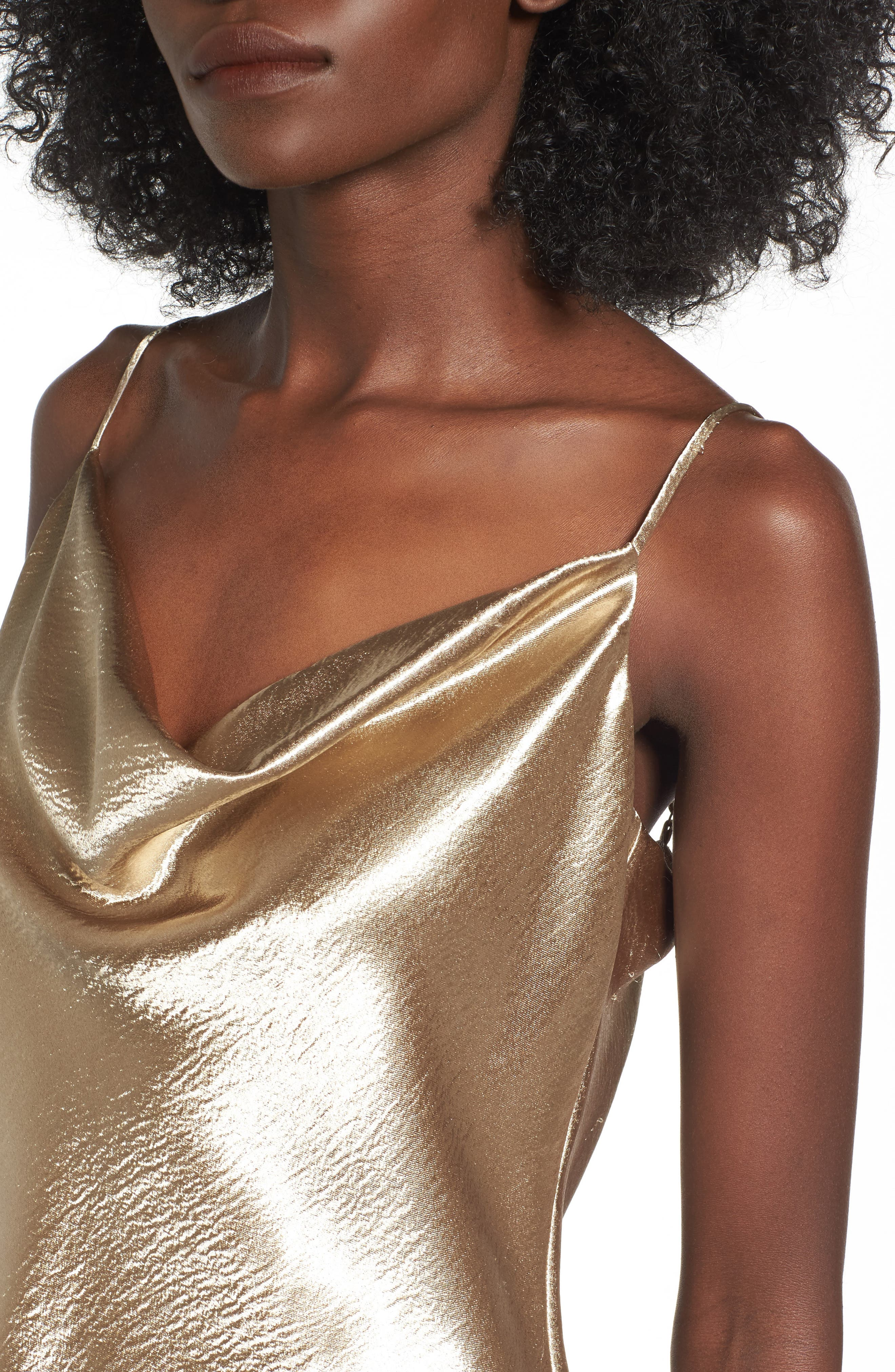 Metallic Cowl Neck Top,                             Alternate thumbnail 4, color,                             Brushed Gold