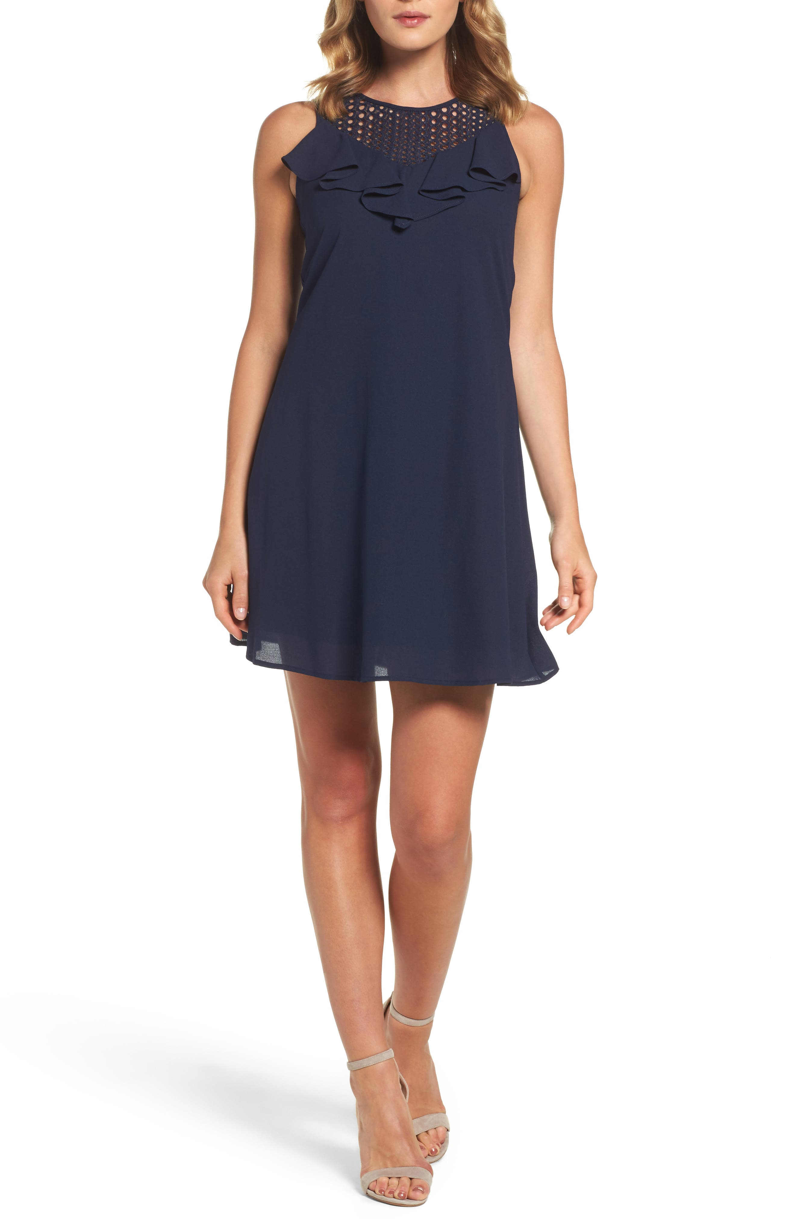 Trapeze Dress,                         Main,                         color, Navy