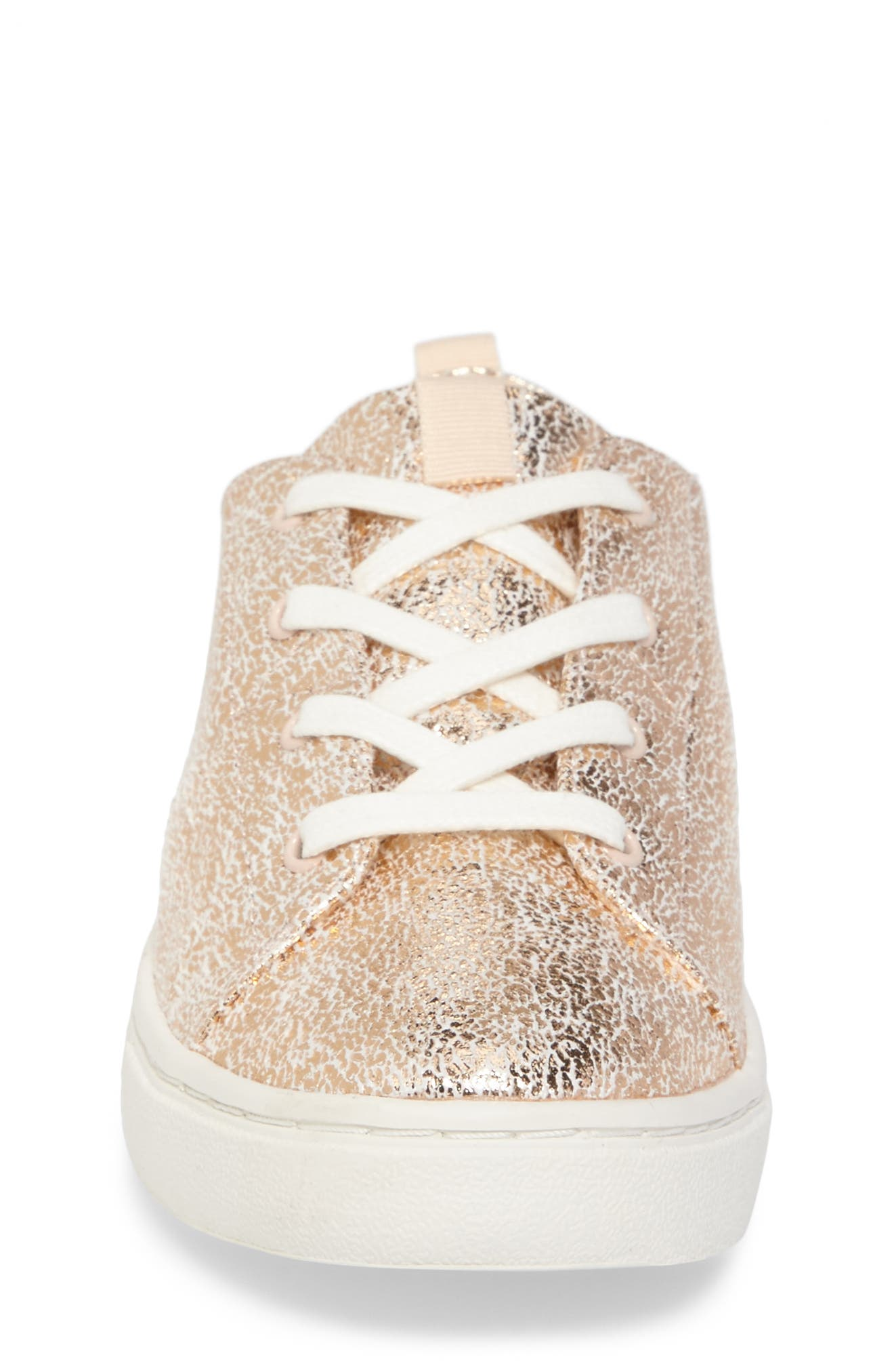 Lenny Metallic Sneaker,                             Alternate thumbnail 4, color,                             Rose Gold Crackle Foil
