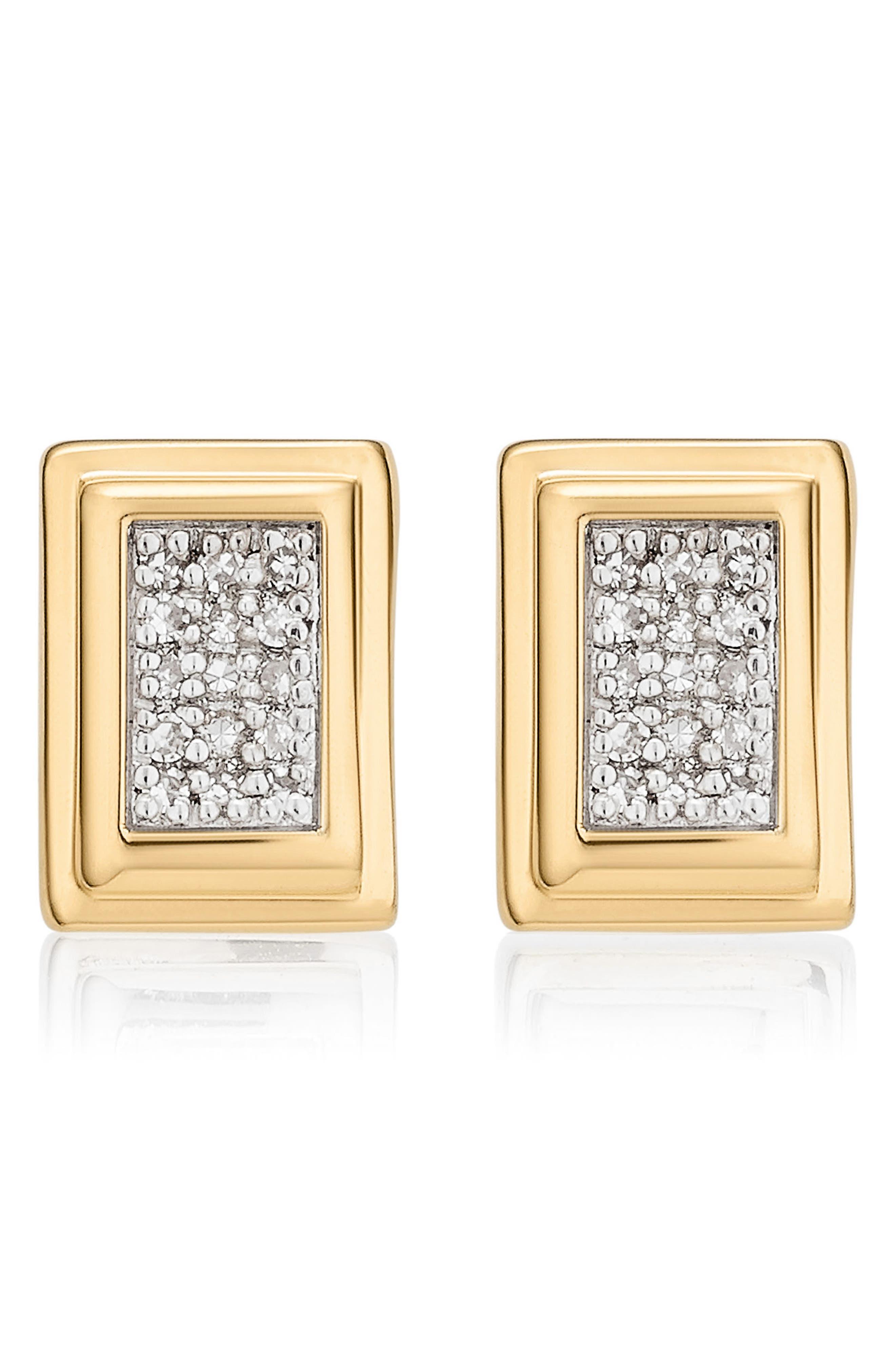 Baja Deco Diamond Stud Earrings,                         Main,                         color, Yellow Gold