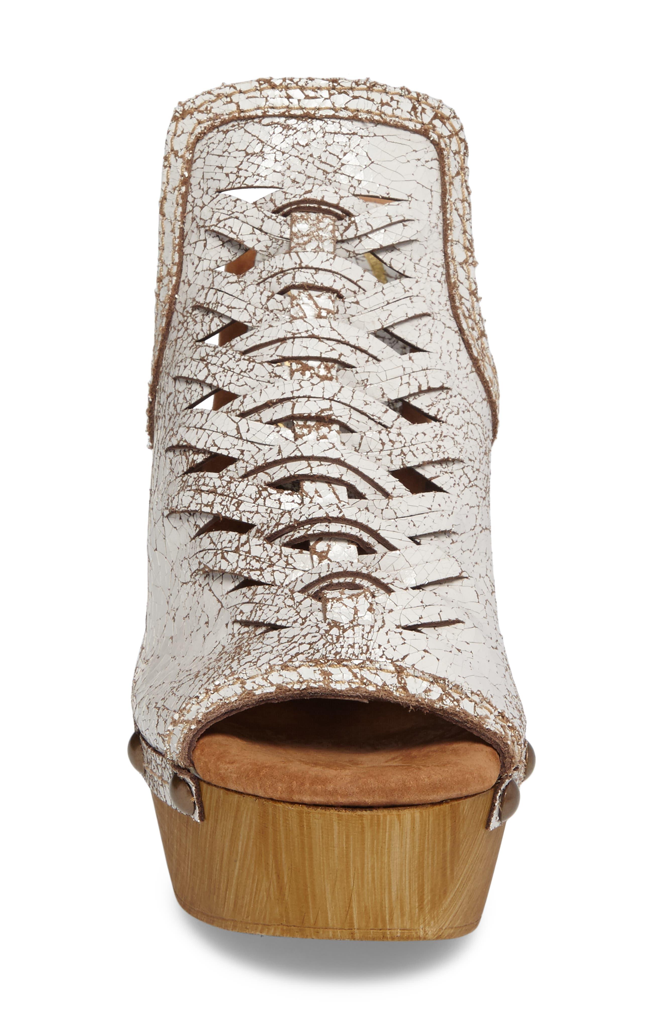 Kinga Platform Sandal,                             Alternate thumbnail 4, color,                             White Leather