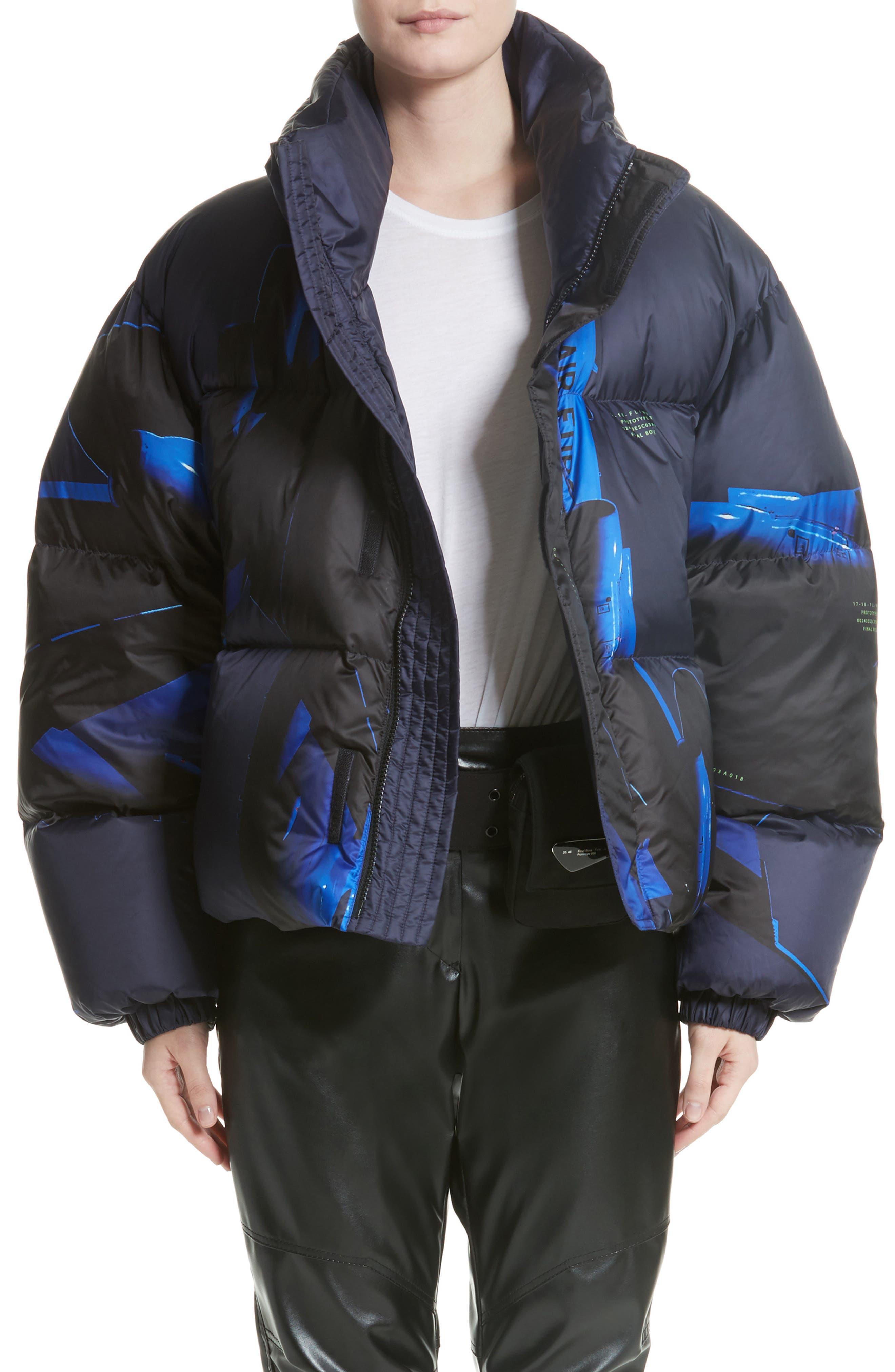 Printed Down Bomber Jacket,                             Main thumbnail 1, color,                             Blue