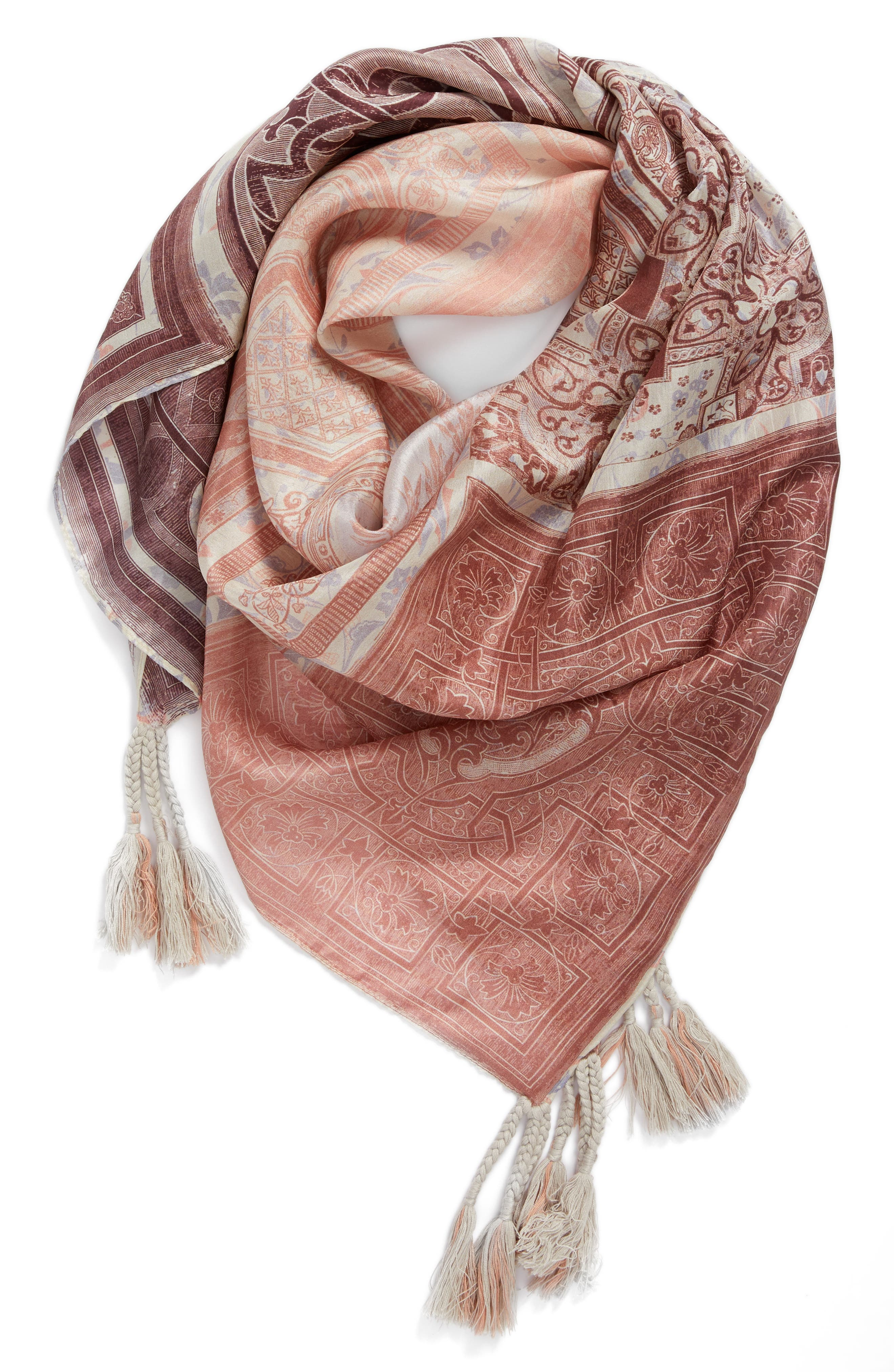 Plate Silk Scarf,                         Main,                         color, Mixed Print