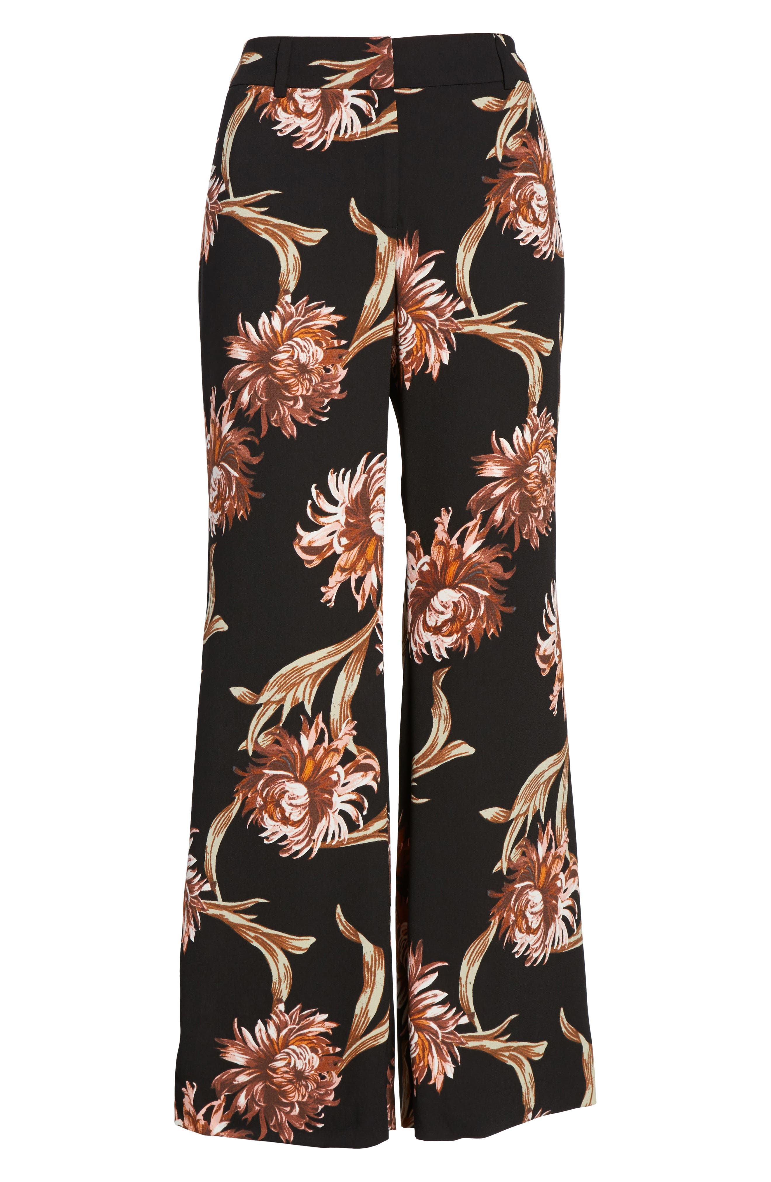 Printed Wide Leg Pants,                             Alternate thumbnail 6, color,                             Black Nouveau Floral