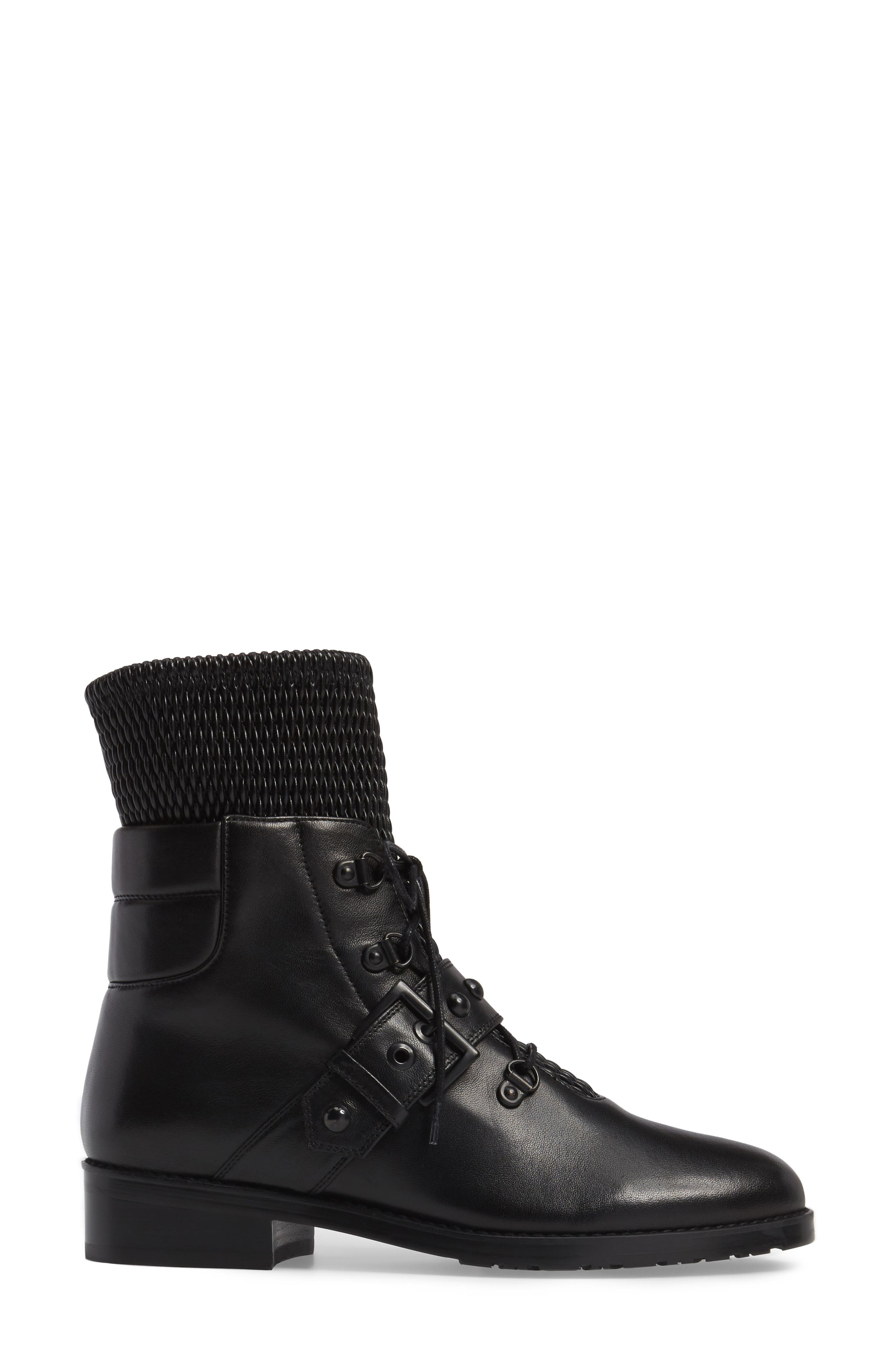 Stitchwork Combat Boot,                             Alternate thumbnail 3, color,                             Black Nappa
