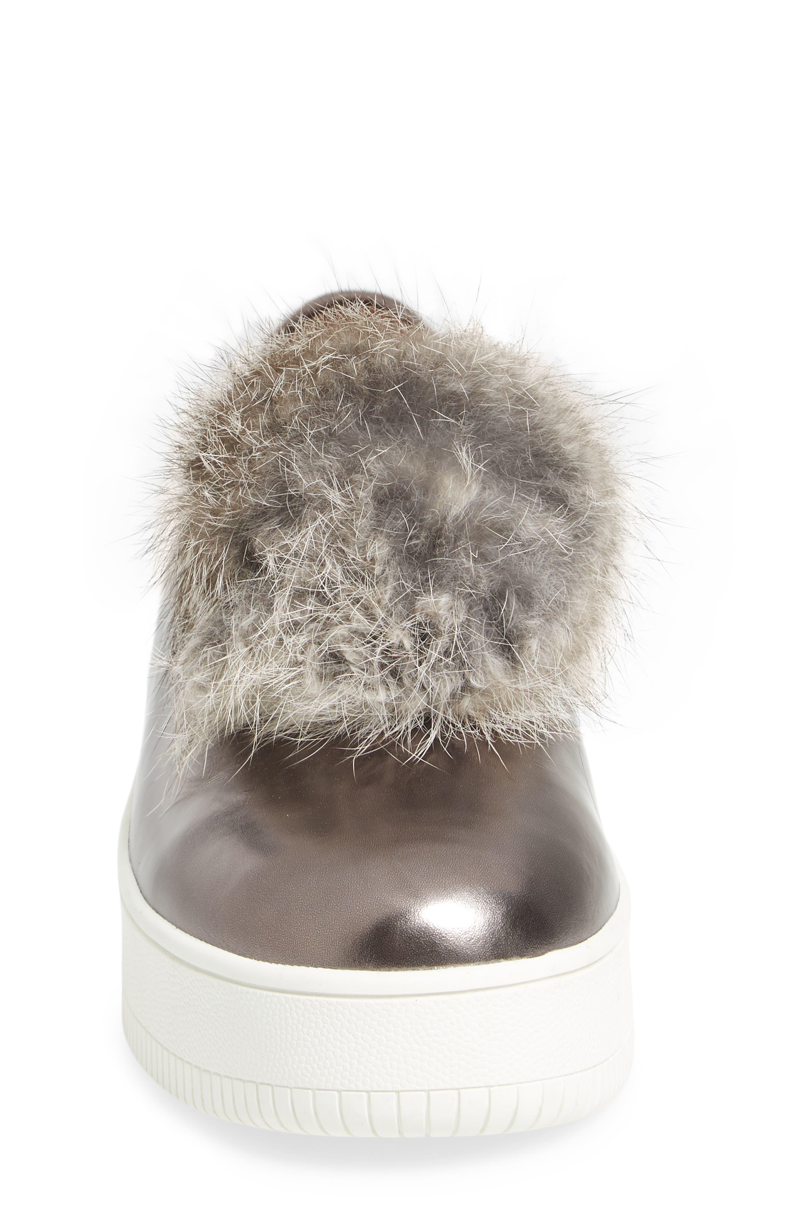 Alternate Image 4  - Linea Paolo Sammy Platform Sneaker with Genuine Rabbit Fur Pompom (Women)