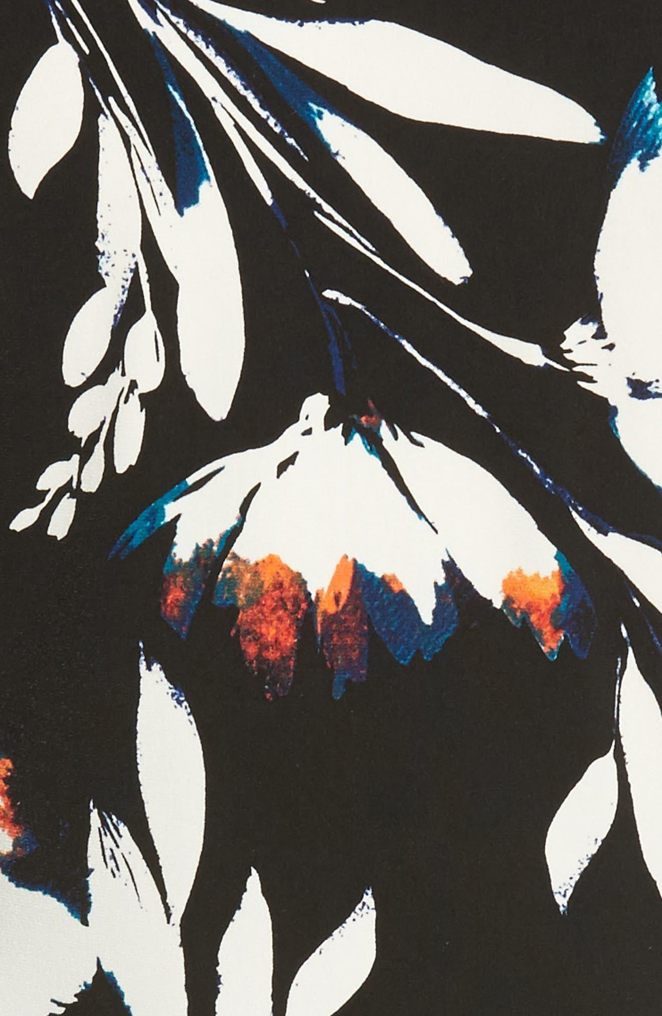 Floral Vision Ruched Handkerchief Hem Top,                             Alternate thumbnail 5, color,                             Rich Black