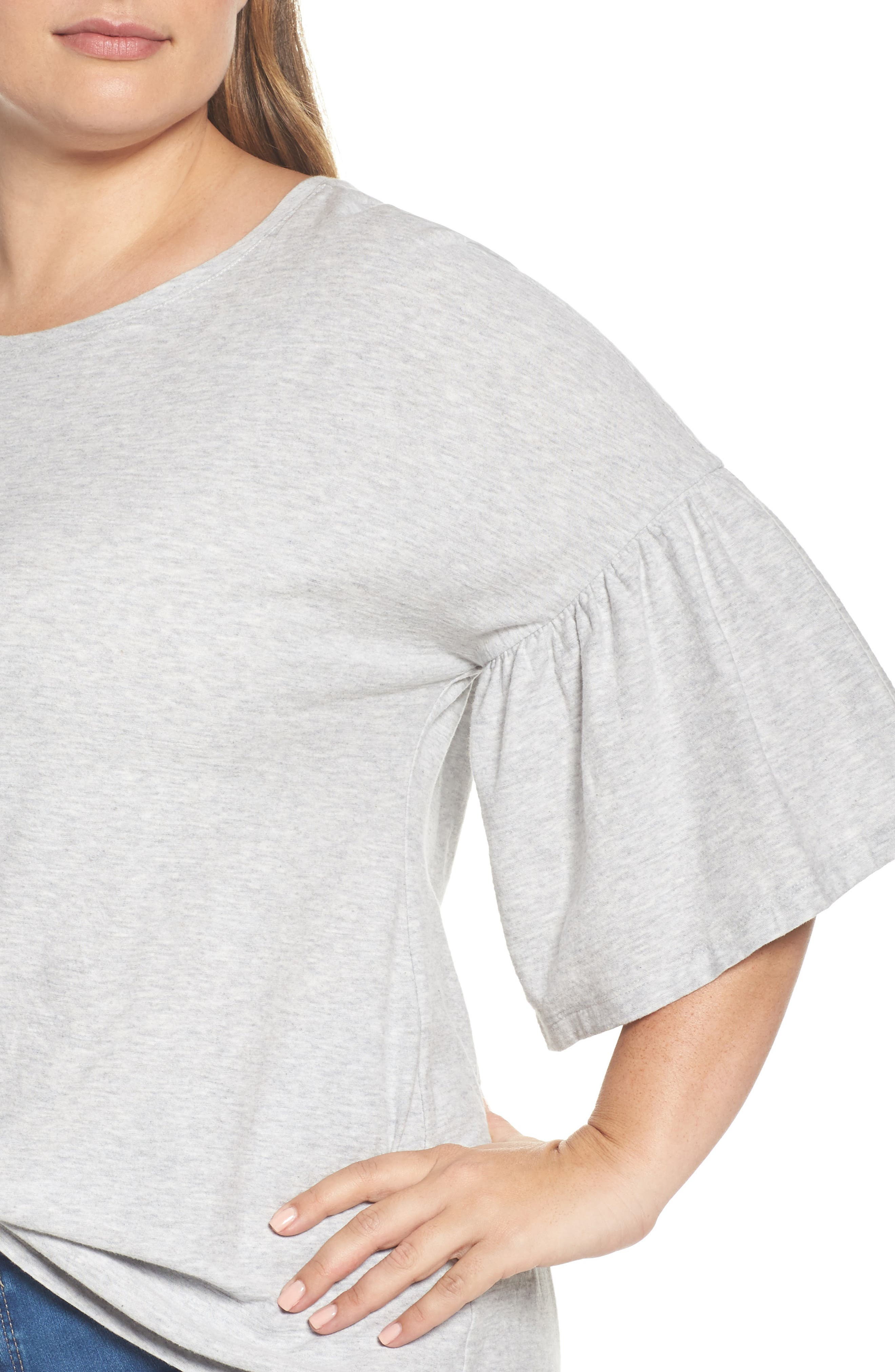 Alternate Image 4  - Vince Camuto Relaxed Bell Sleeve Cotton Tee (Plus Size)