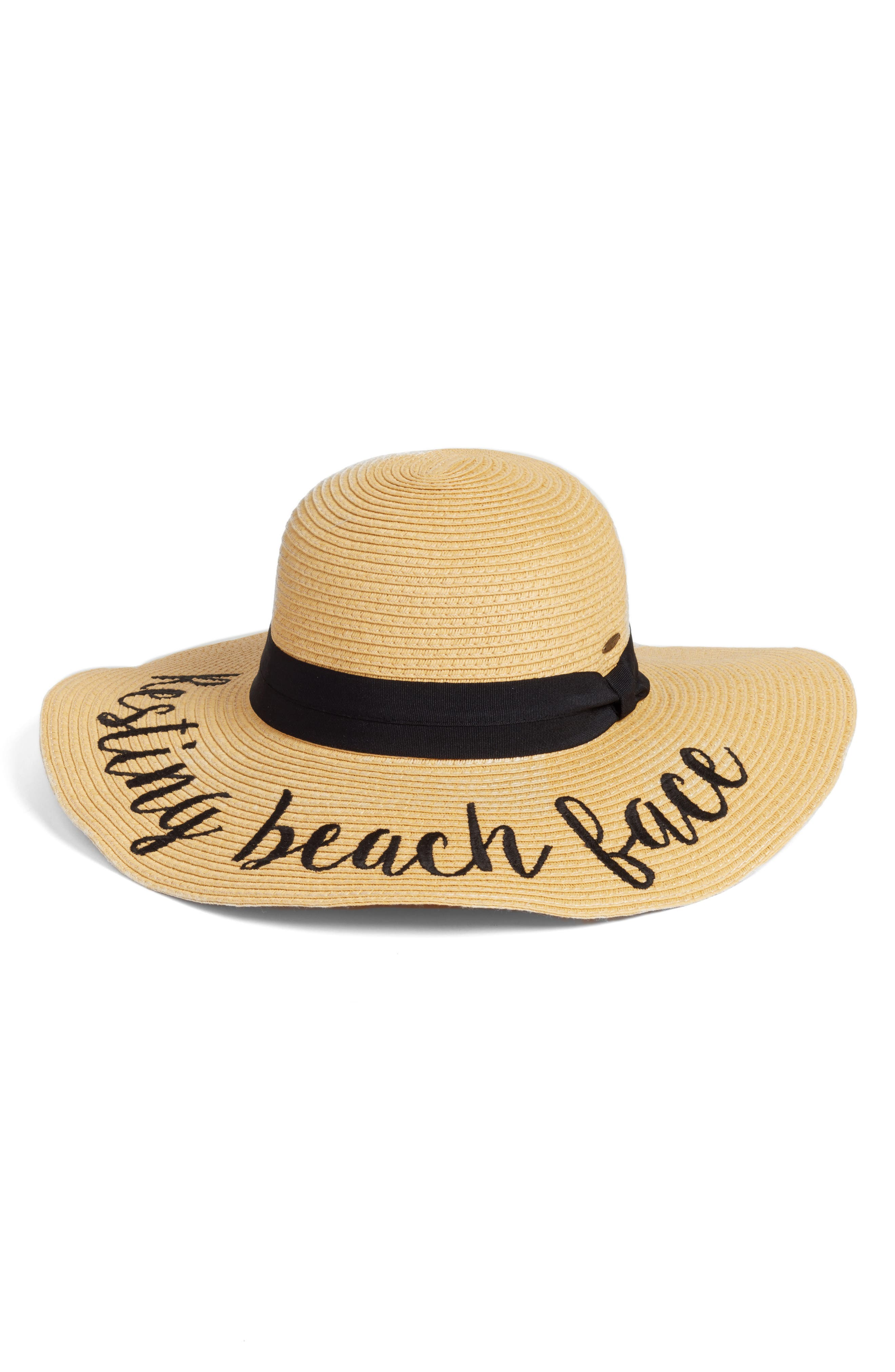 Straw Hat,                         Main,                         color, Resting Beach Face