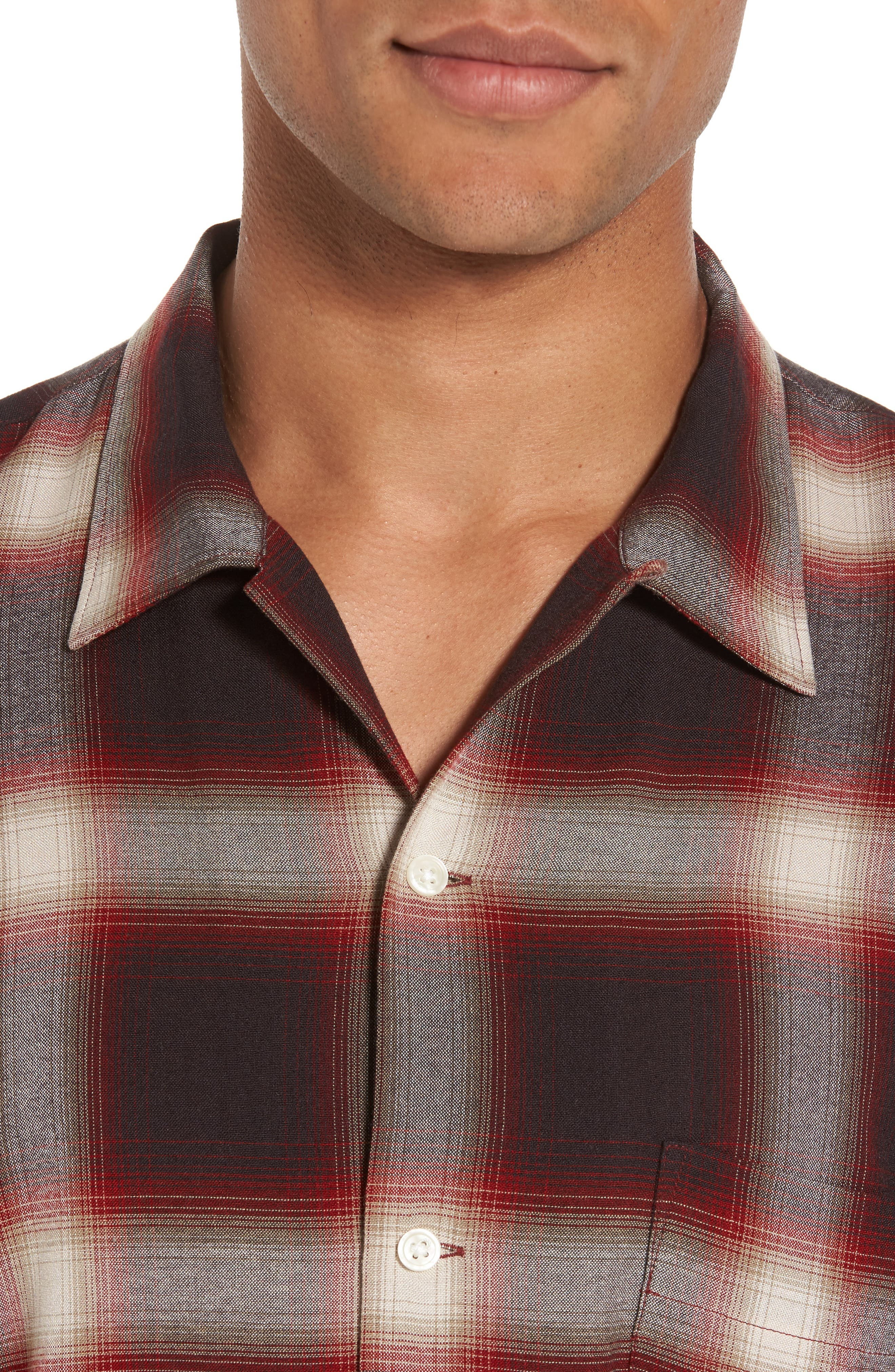 Ombré Check Sport Shirt,                             Alternate thumbnail 4, color,                             Red