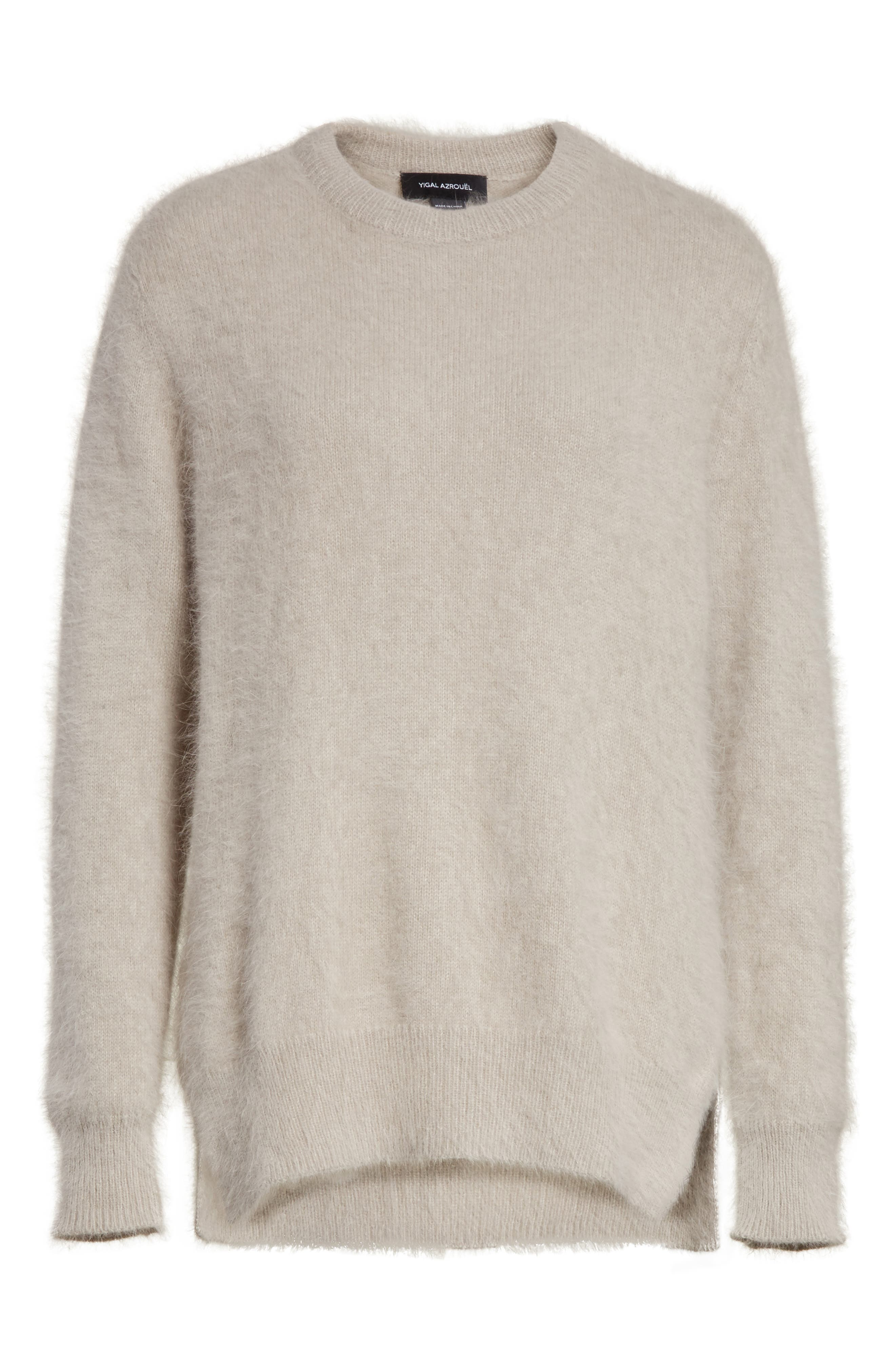 Angora Blend Sweater,                             Alternate thumbnail 4, color,                             Grey