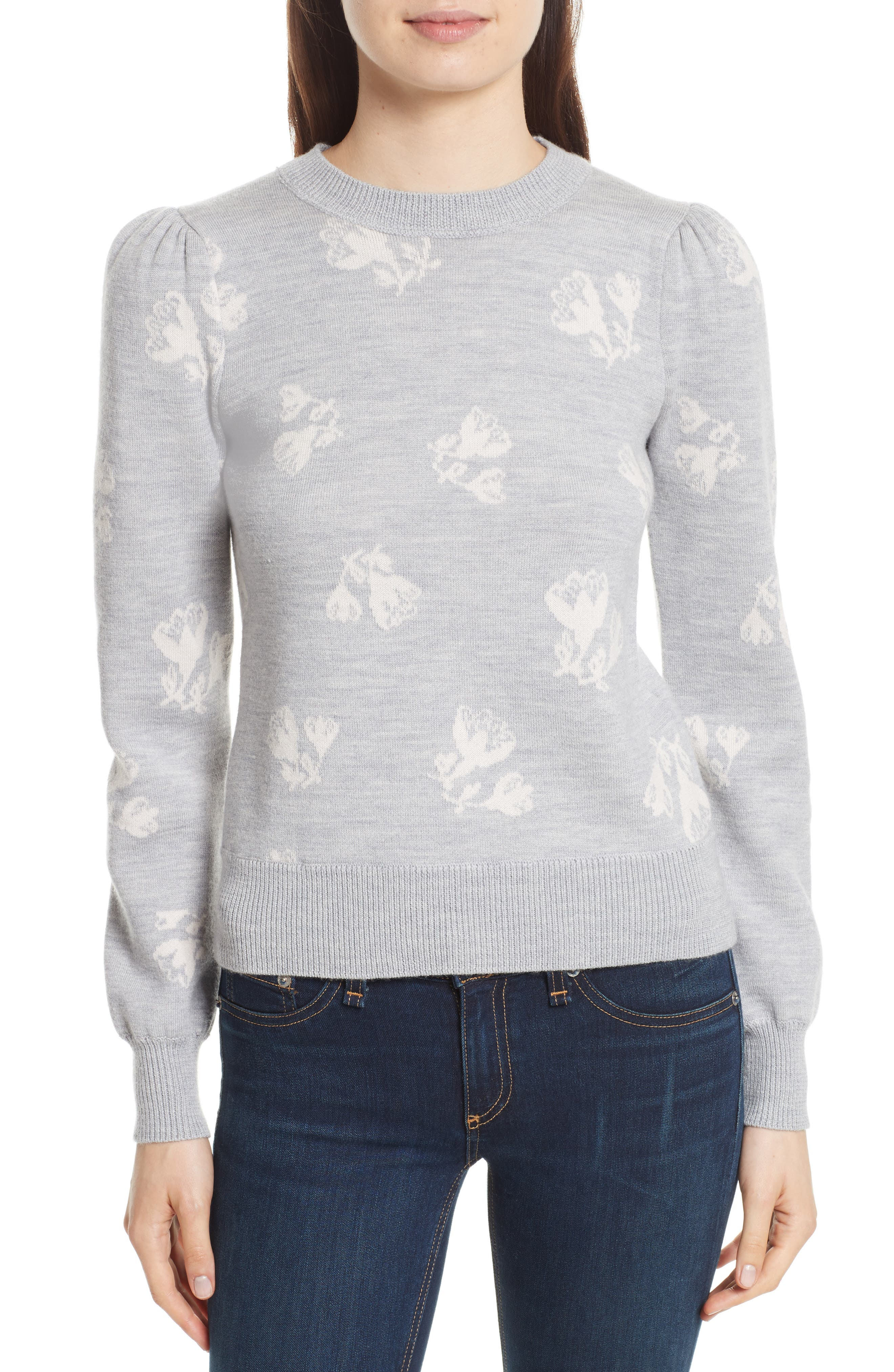 Floral Jacquard Sweater,                             Main thumbnail 1, color,                             Grey Melange