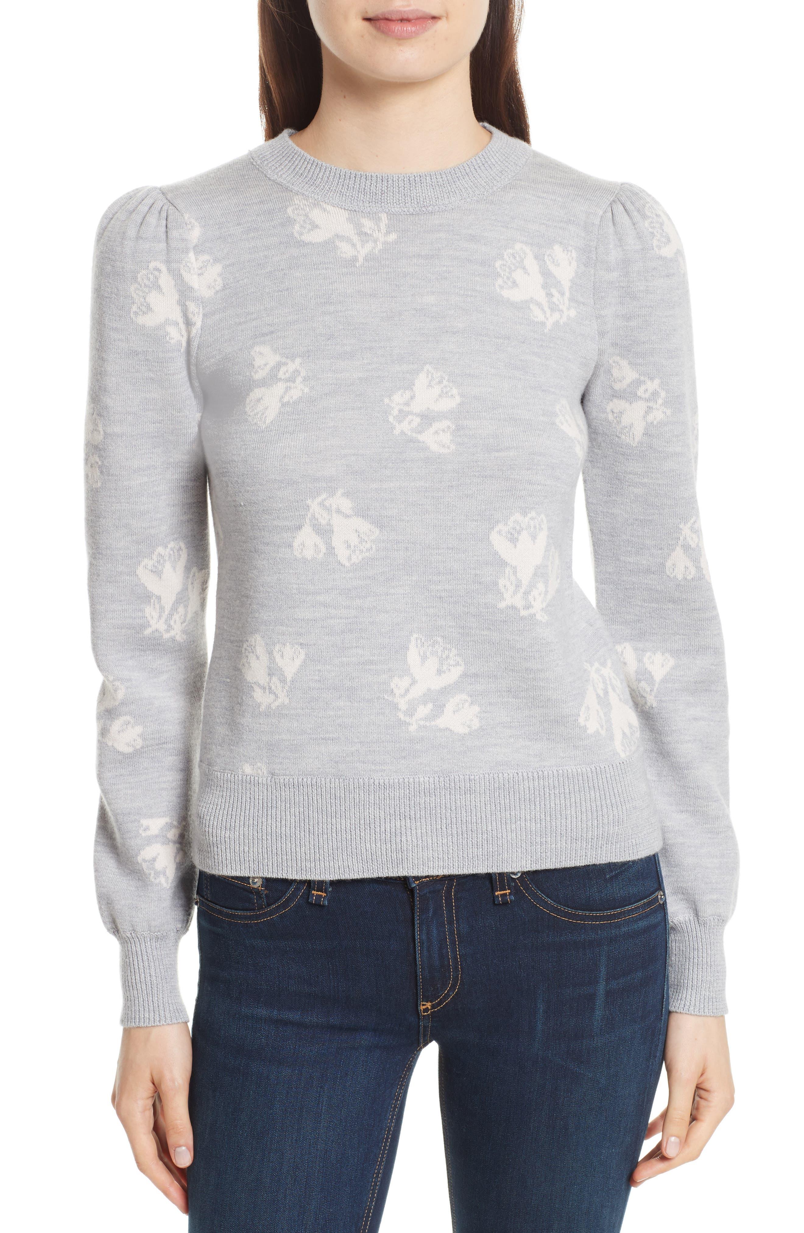 Main Image - Rebecca Taylor Floral Jacquard Sweater