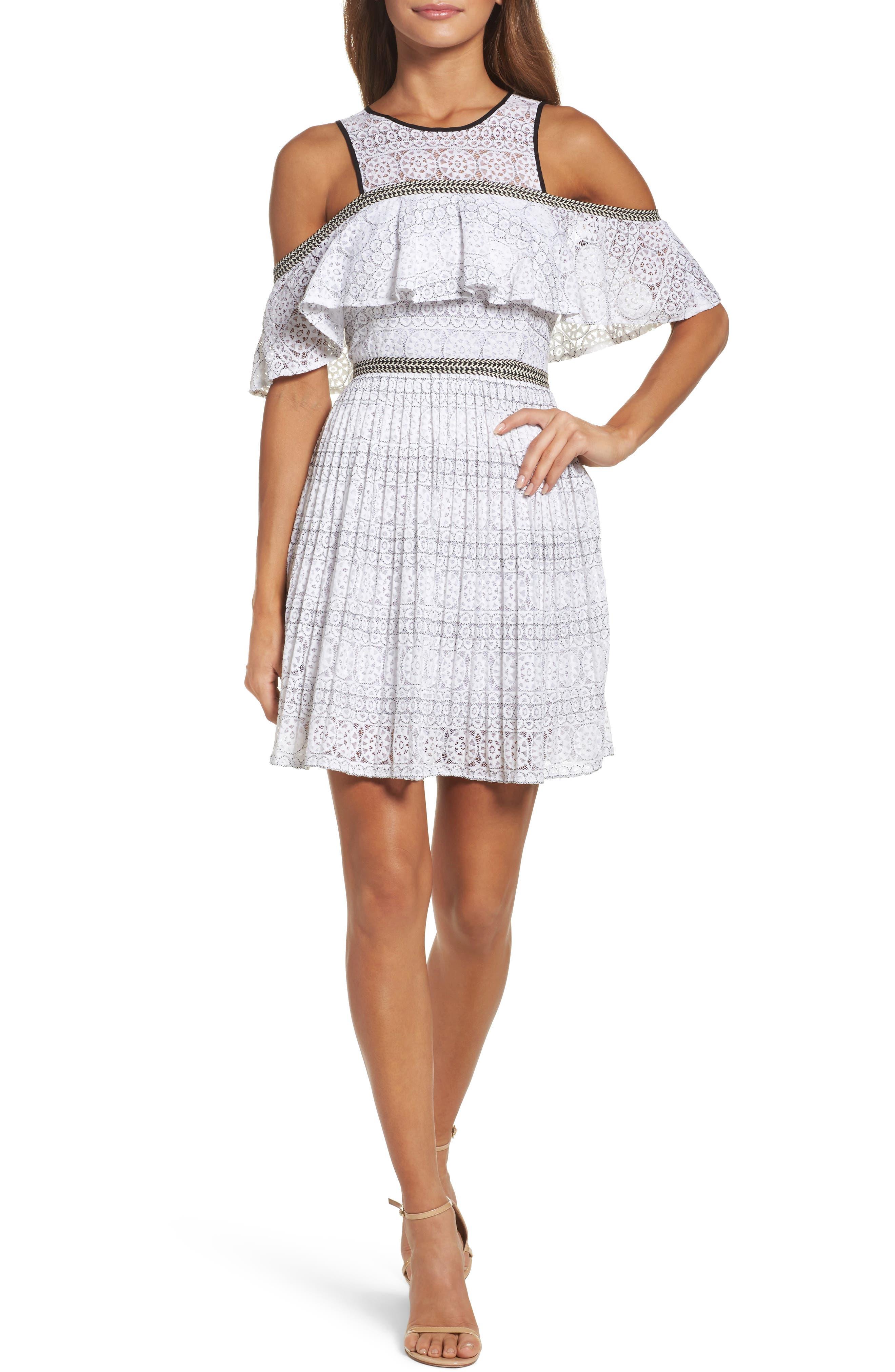 Belinda Lace Cold Shoulder Dress,                         Main,                         color, White
