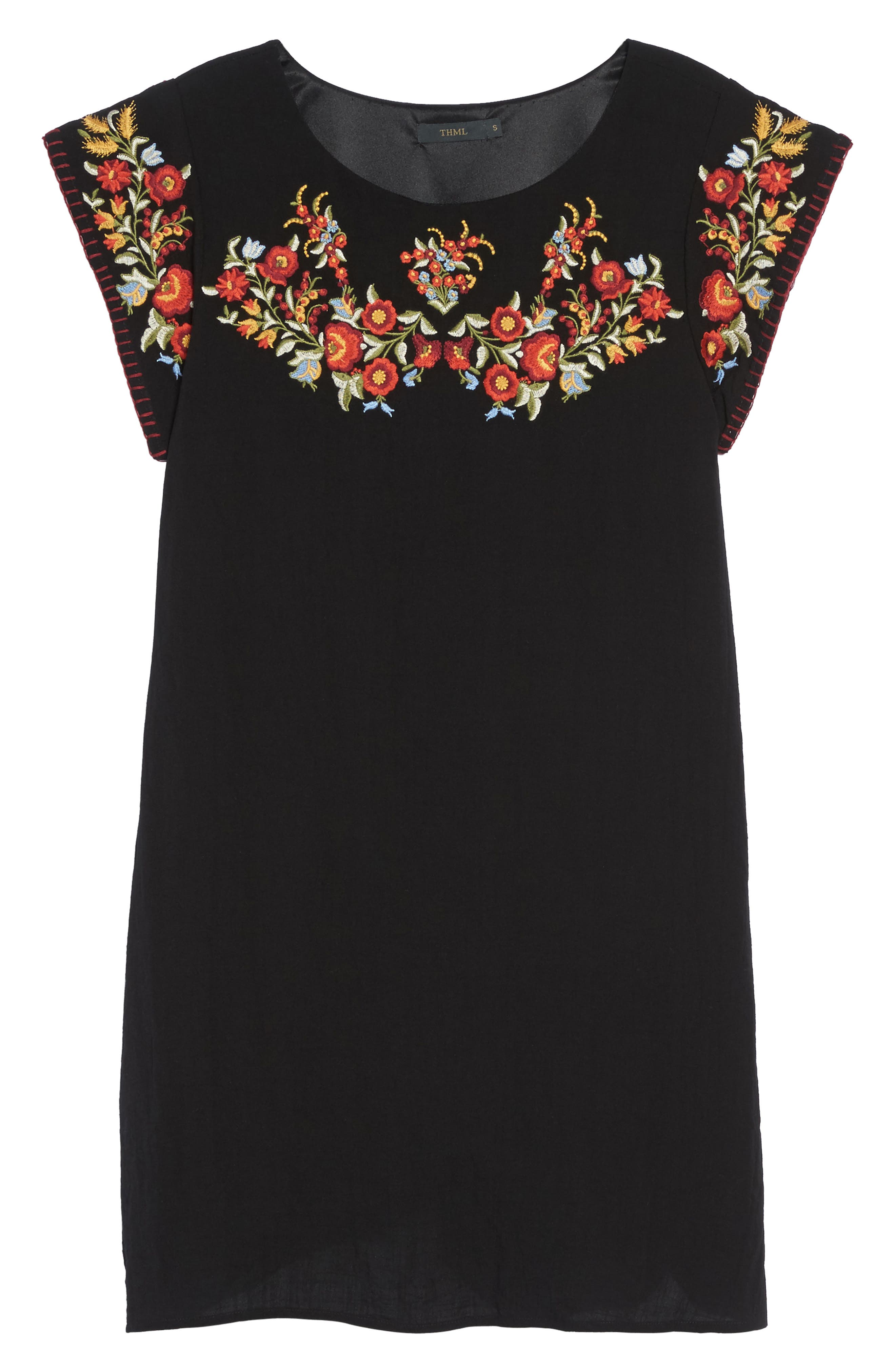 Embroidered Shift Dress,                             Alternate thumbnail 6, color,                             Black