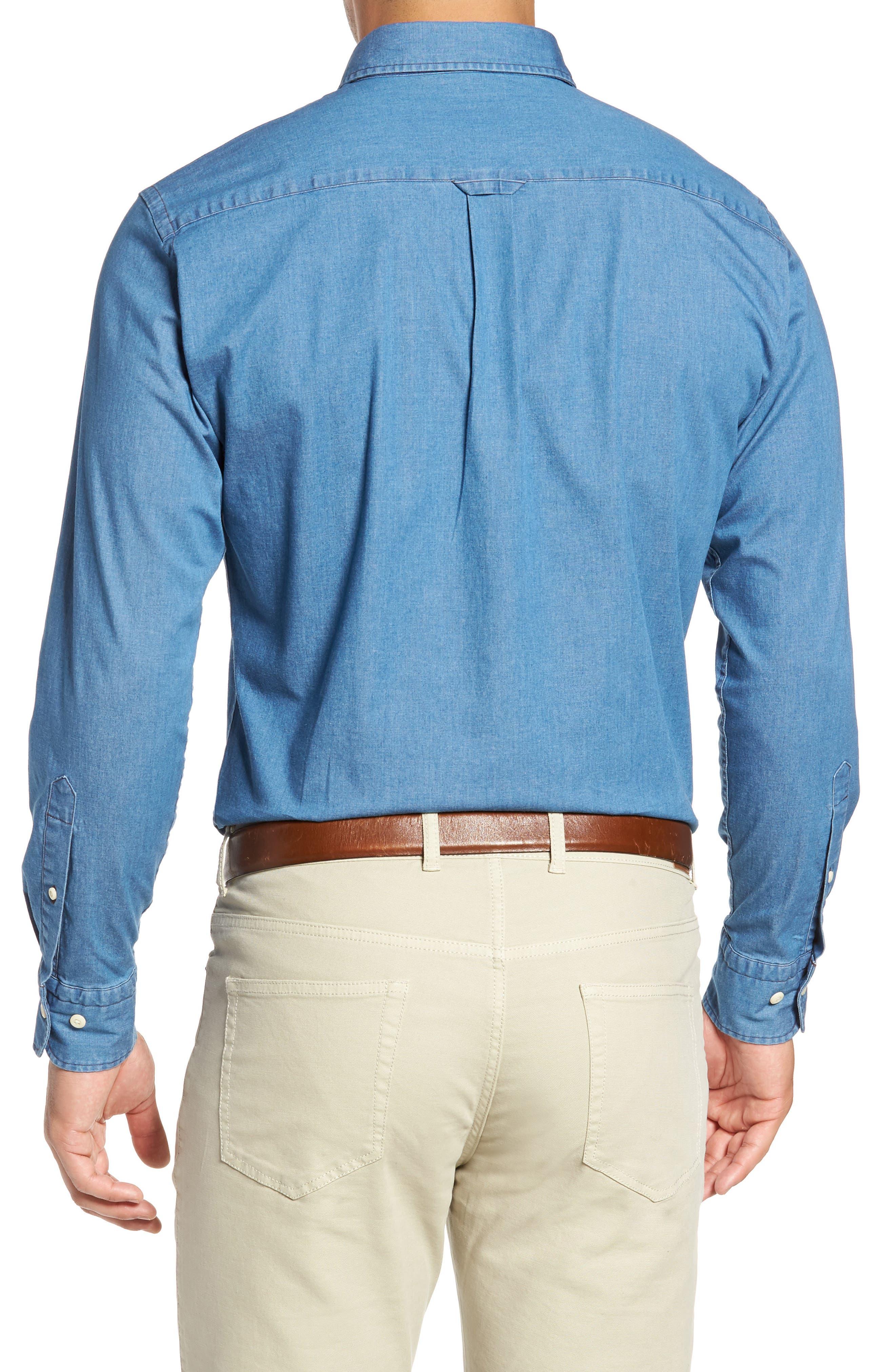 Crown Vintage Regular Fit Denim Sport Shirt,                             Alternate thumbnail 2, color,                             Indigo