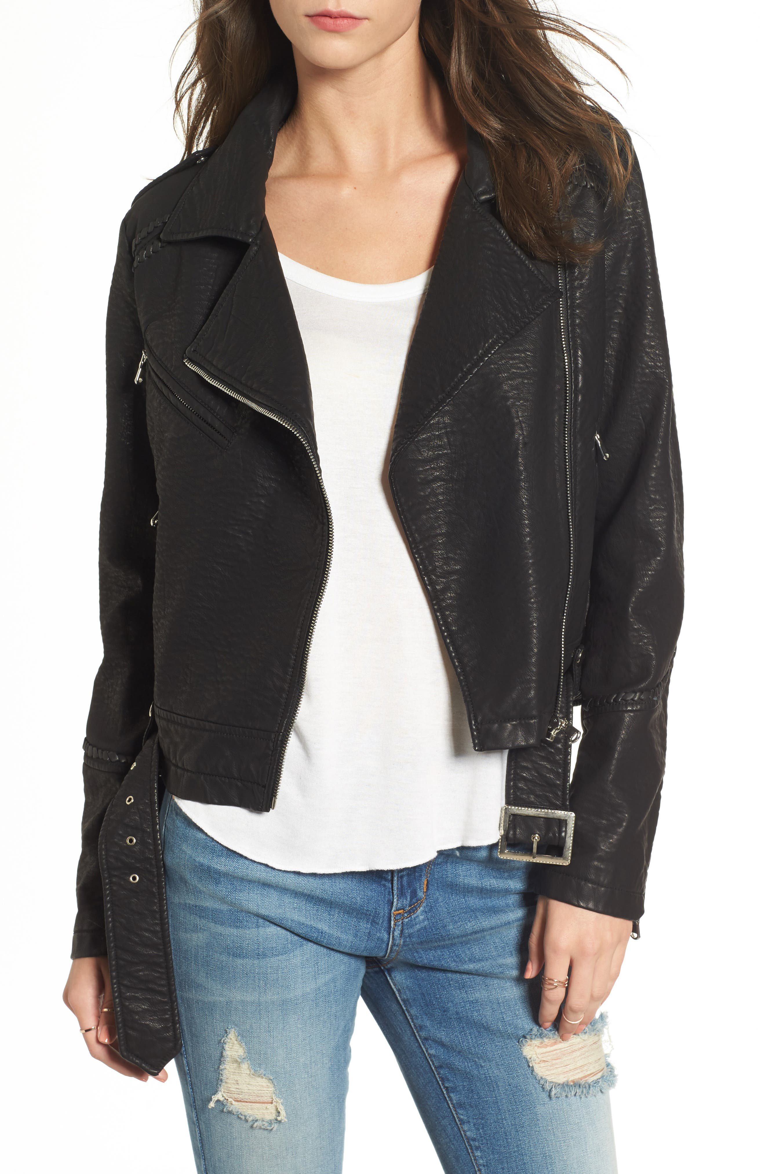 Furthermore Faux Leather Jacket,                         Main,                         color, Black