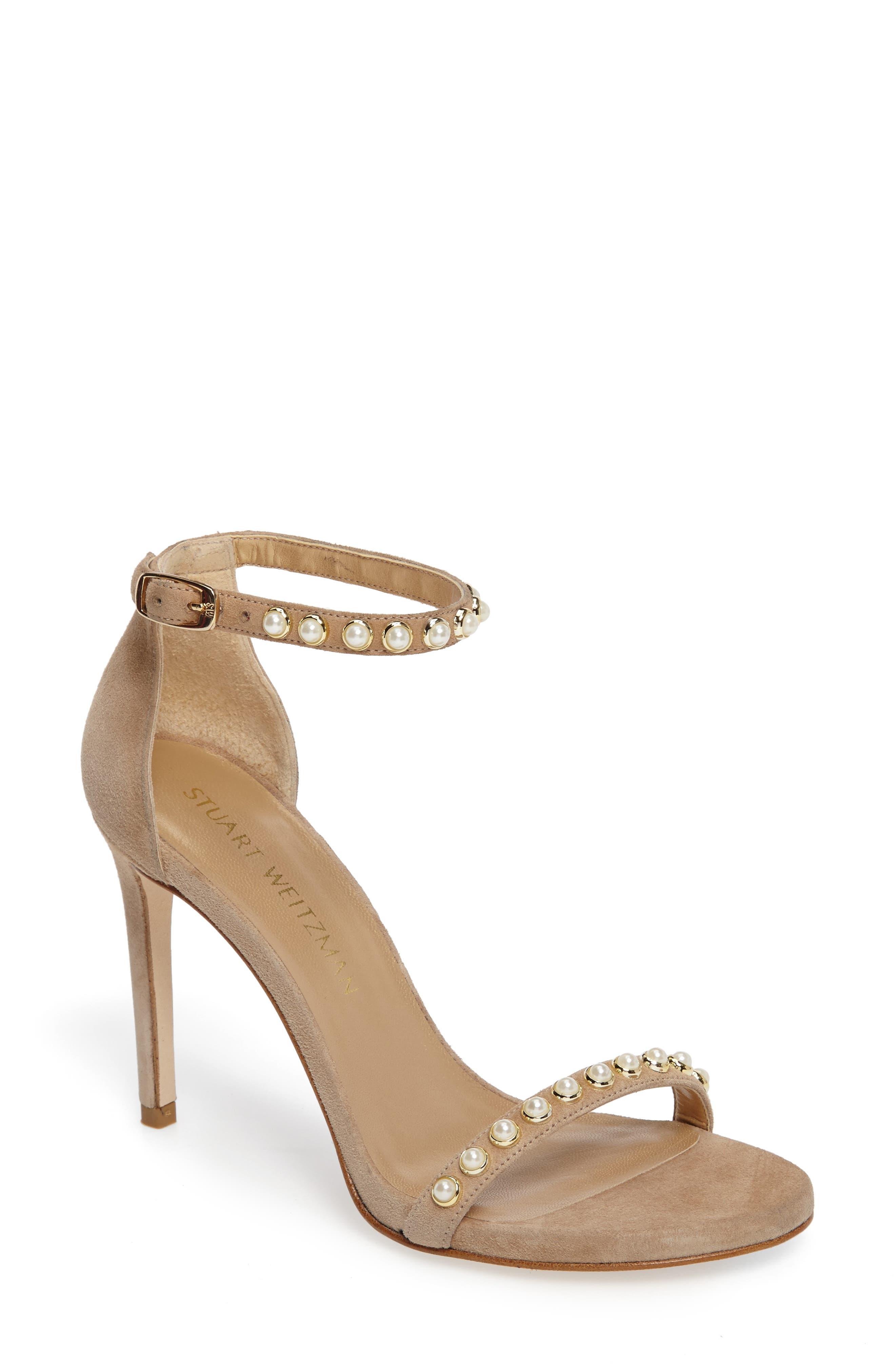 Stuart Weitzman Nudistpearls Embellished Sandal (Women)