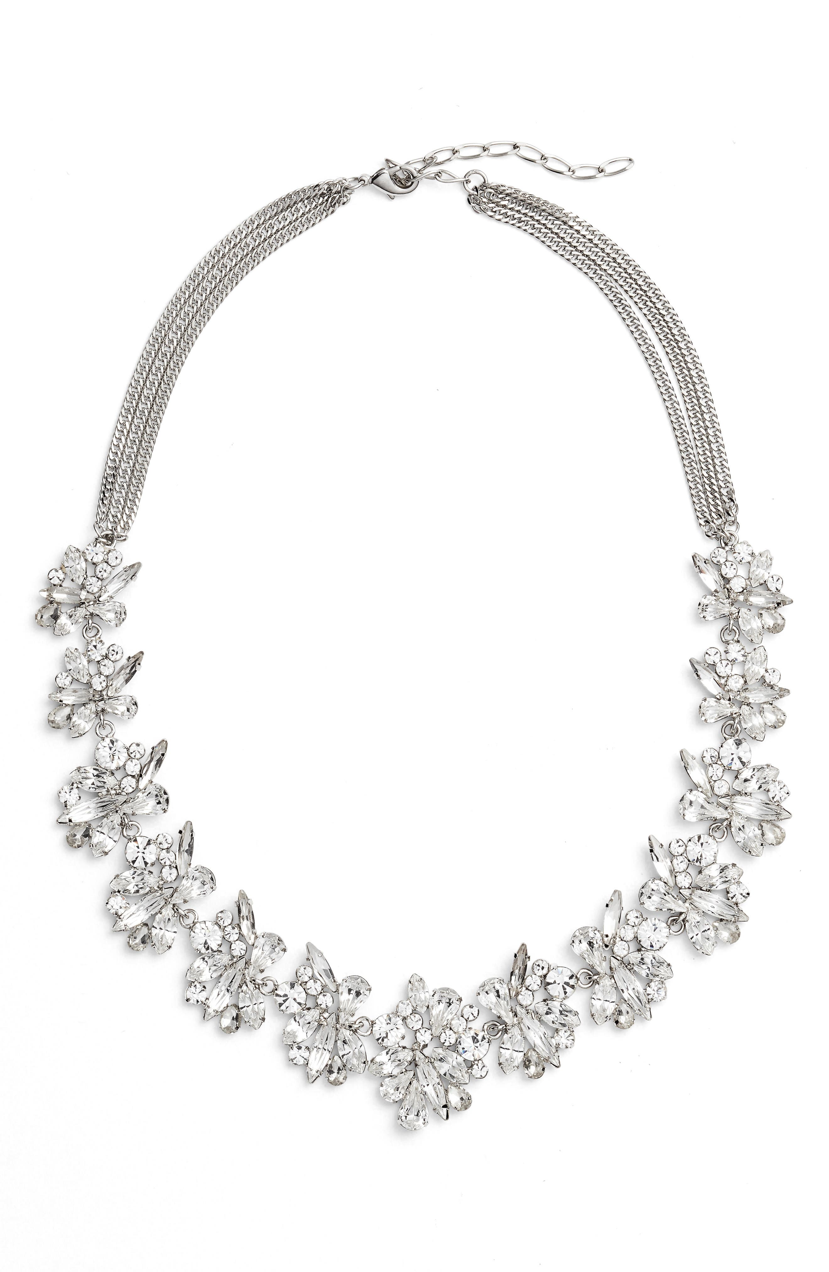 Crystal Collar Necklace,                         Main,                         color, Silver