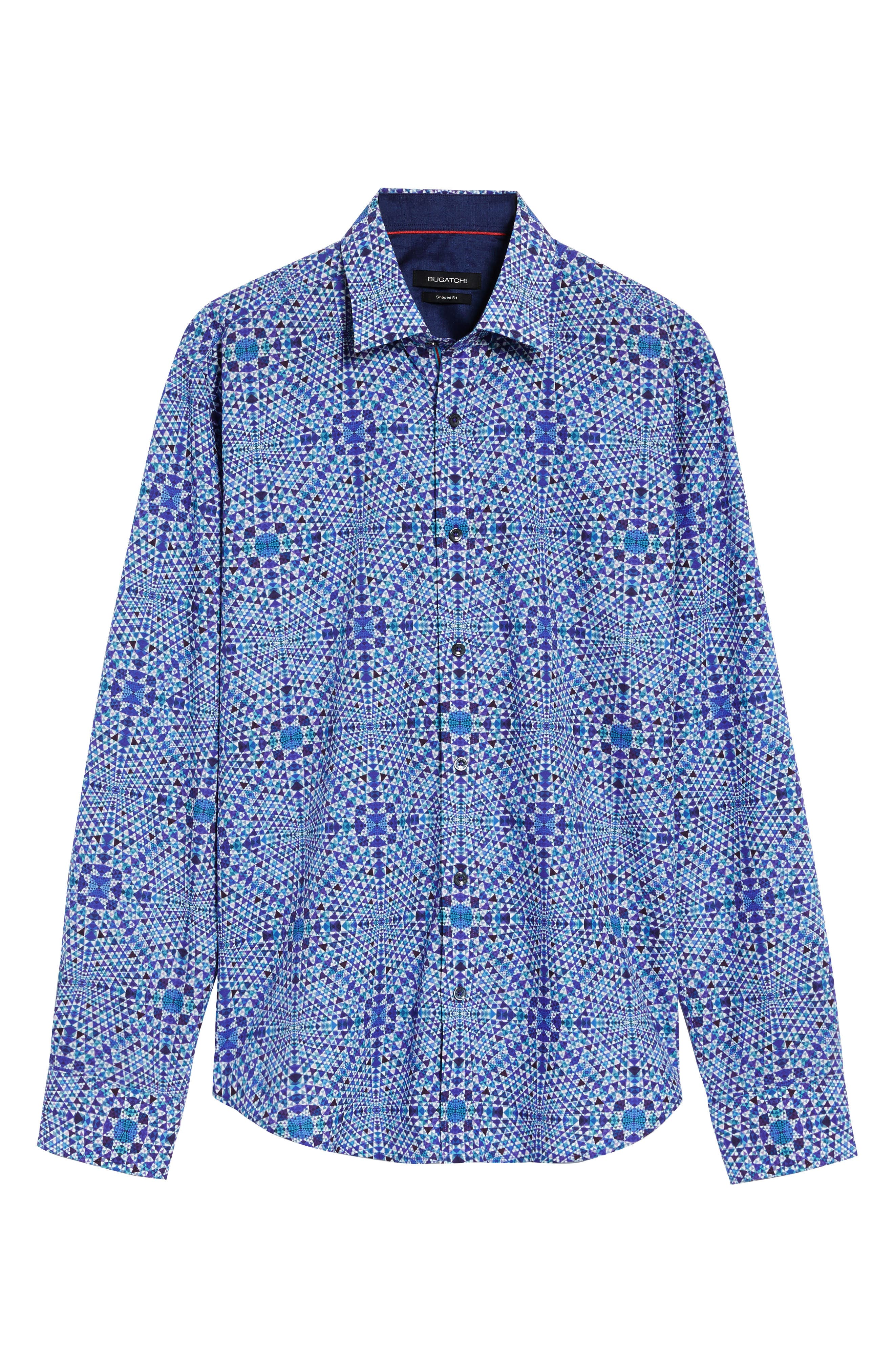 Shaped Fit Geo Print Sport Shirt,                             Alternate thumbnail 7, color,                             Orchid