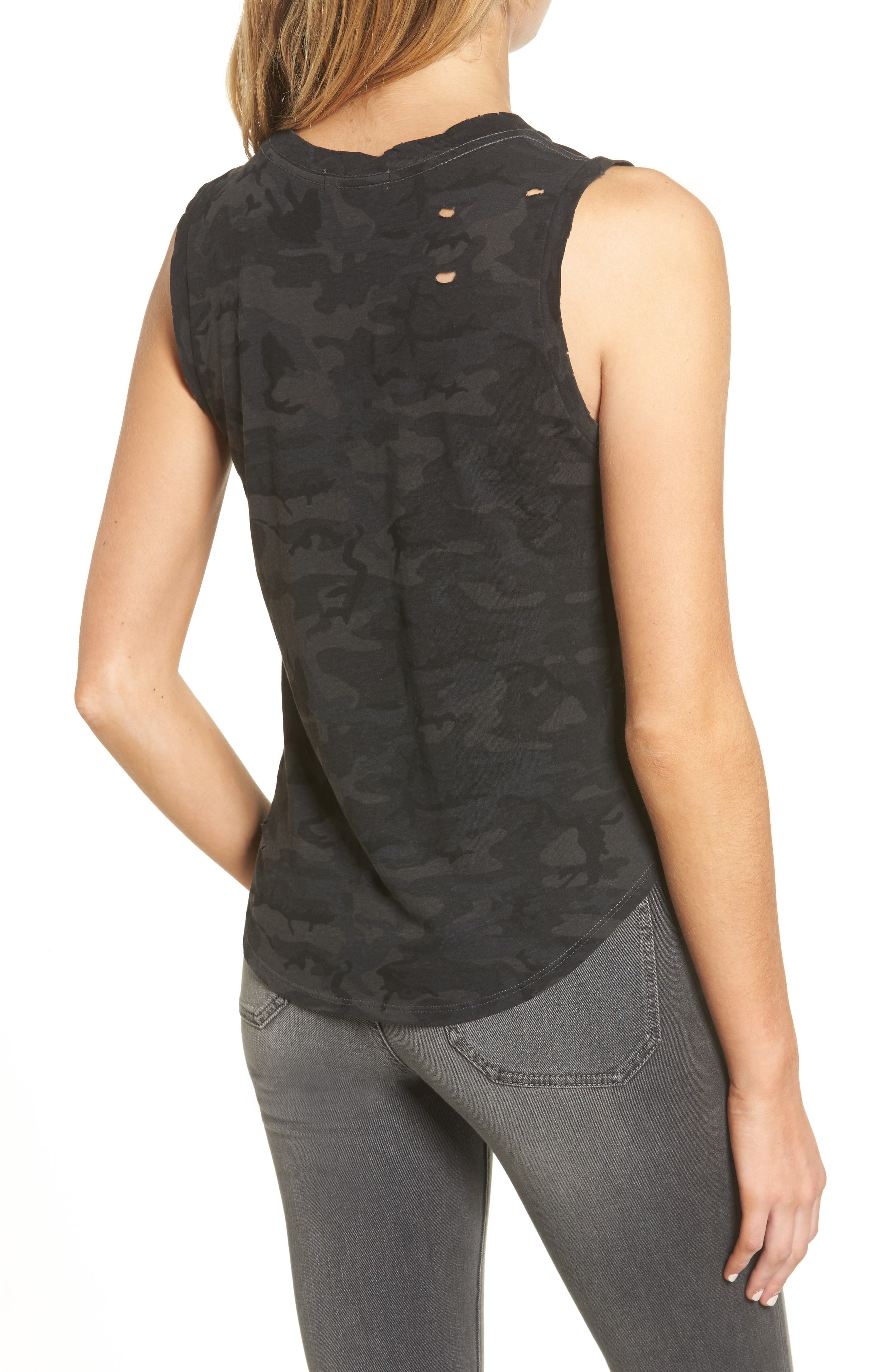 Corin Distressed Muscle Tank,                             Alternate thumbnail 2, color,                             Ghost Multi Camo