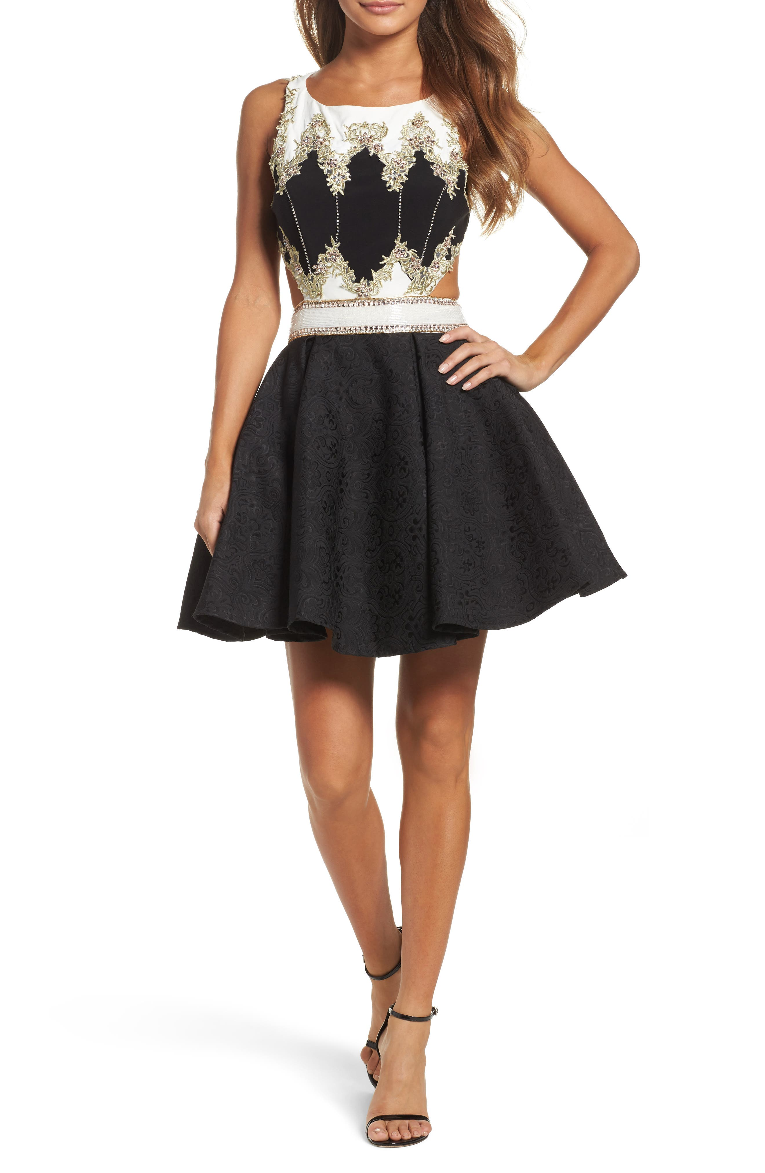 Embellished Cutout Back Cocktail Dress,                             Main thumbnail 1, color,                             Black Ivory