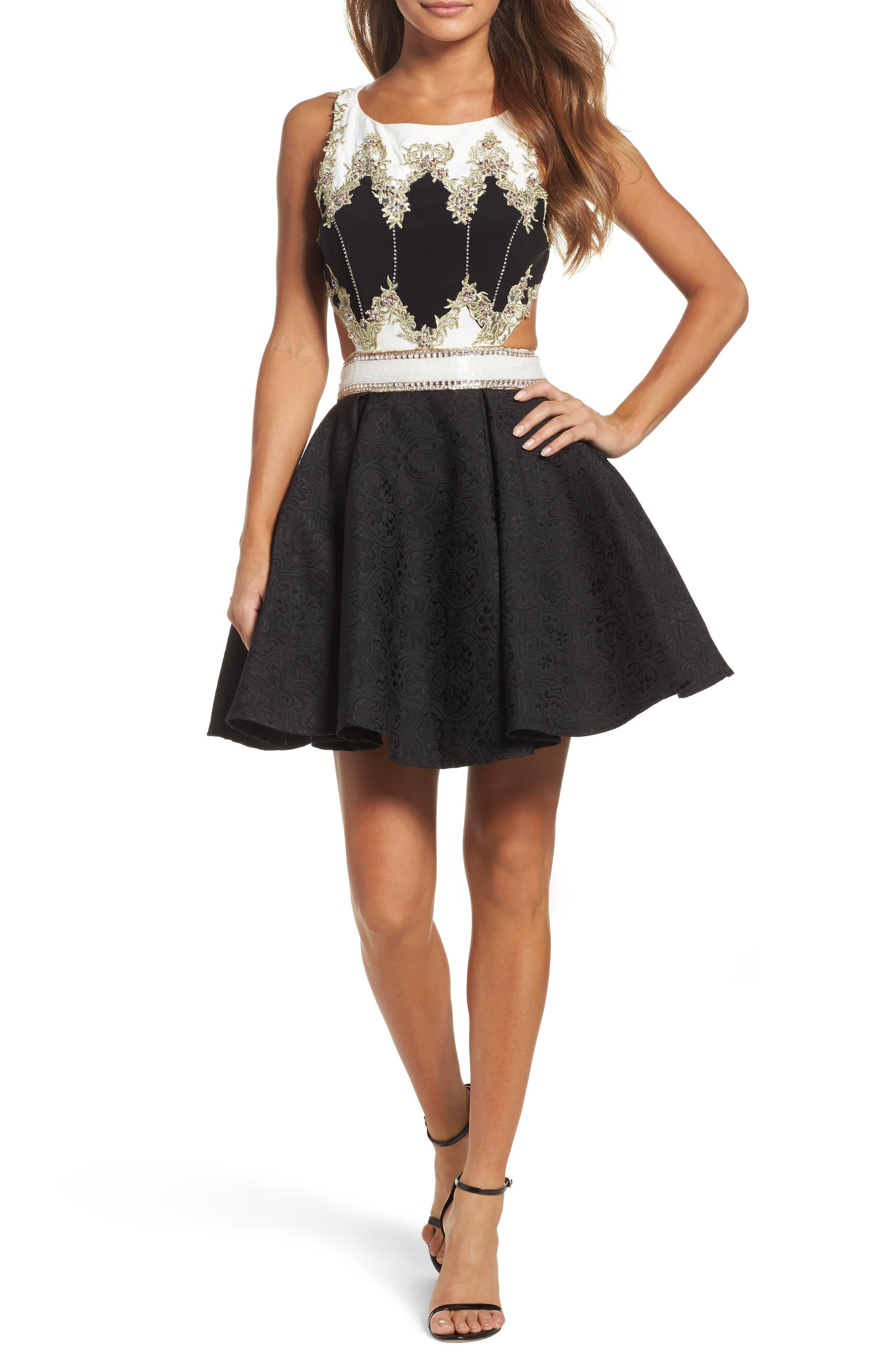 Embellished Cutout Back Cocktail Dress,                         Main,                         color, Black Ivory