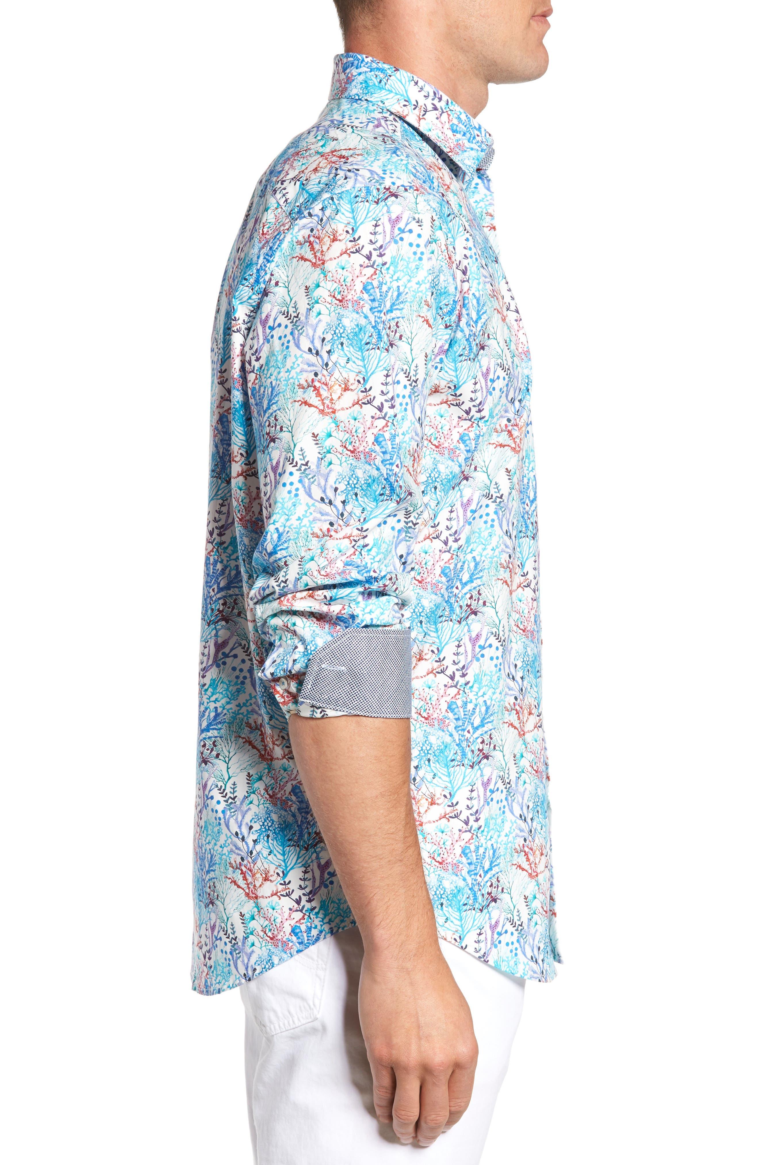 Alternate Image 3  - Bugatchi Classic Fit Floral Print Sport Shirt