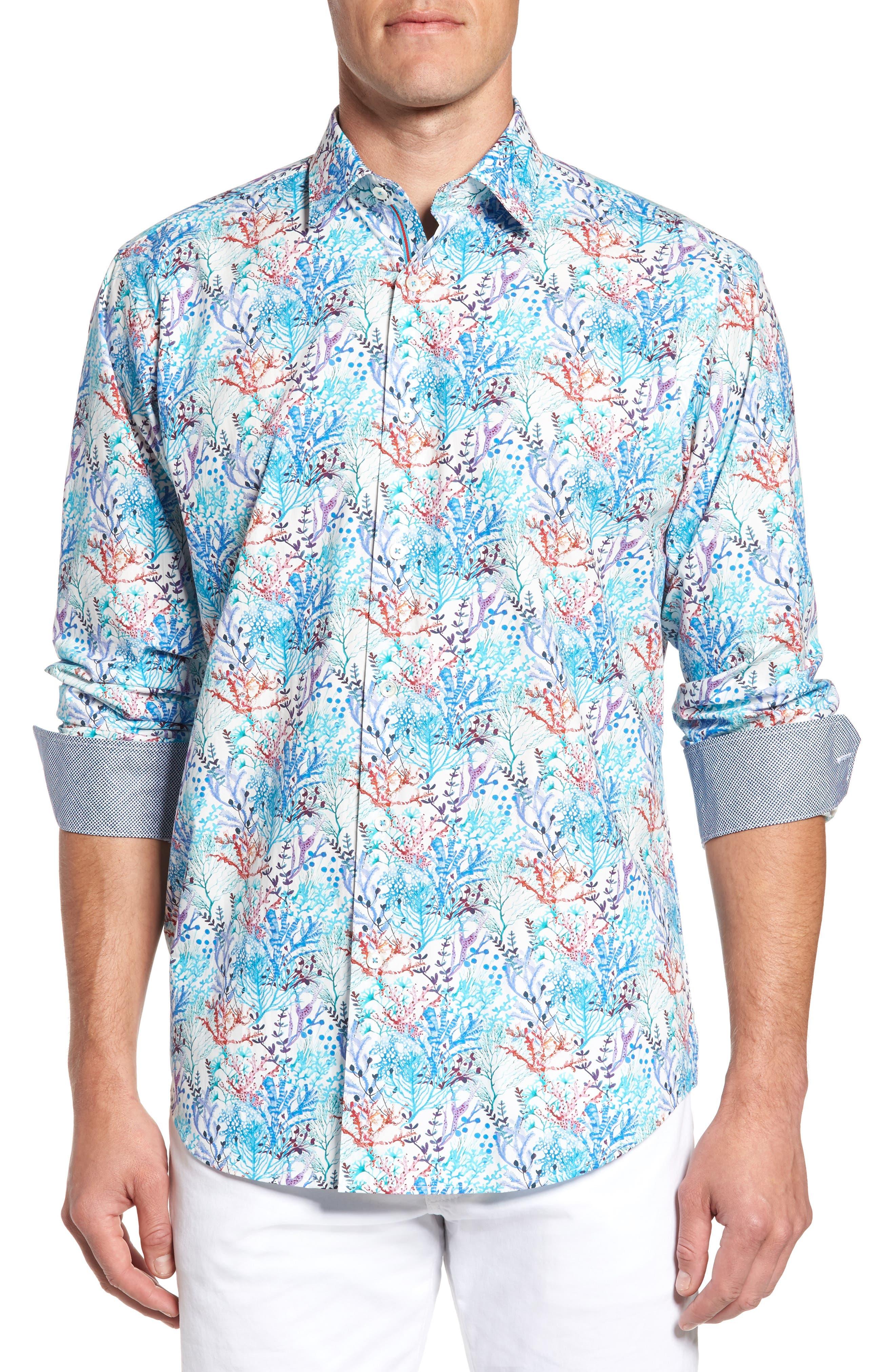 Main Image - Bugatchi Classic Fit Floral Print Sport Shirt