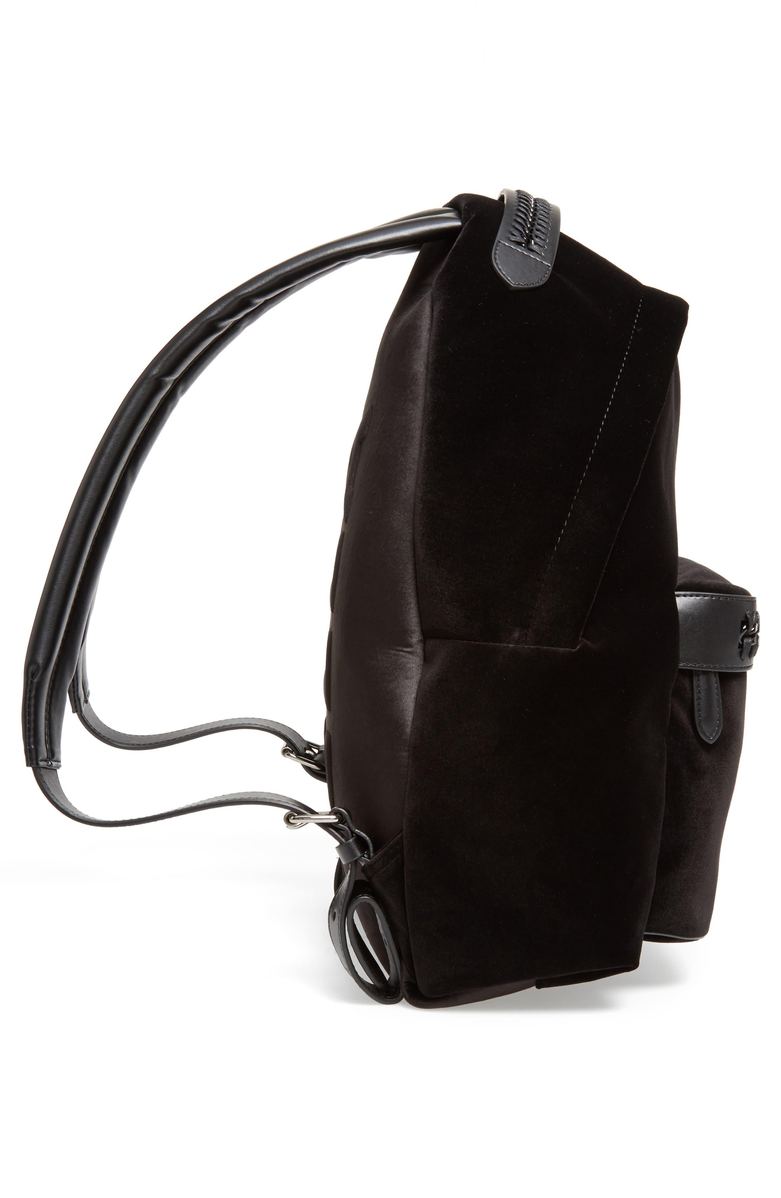 Medium Falabella Velvet Backpack,                             Alternate thumbnail 4, color,                             Black