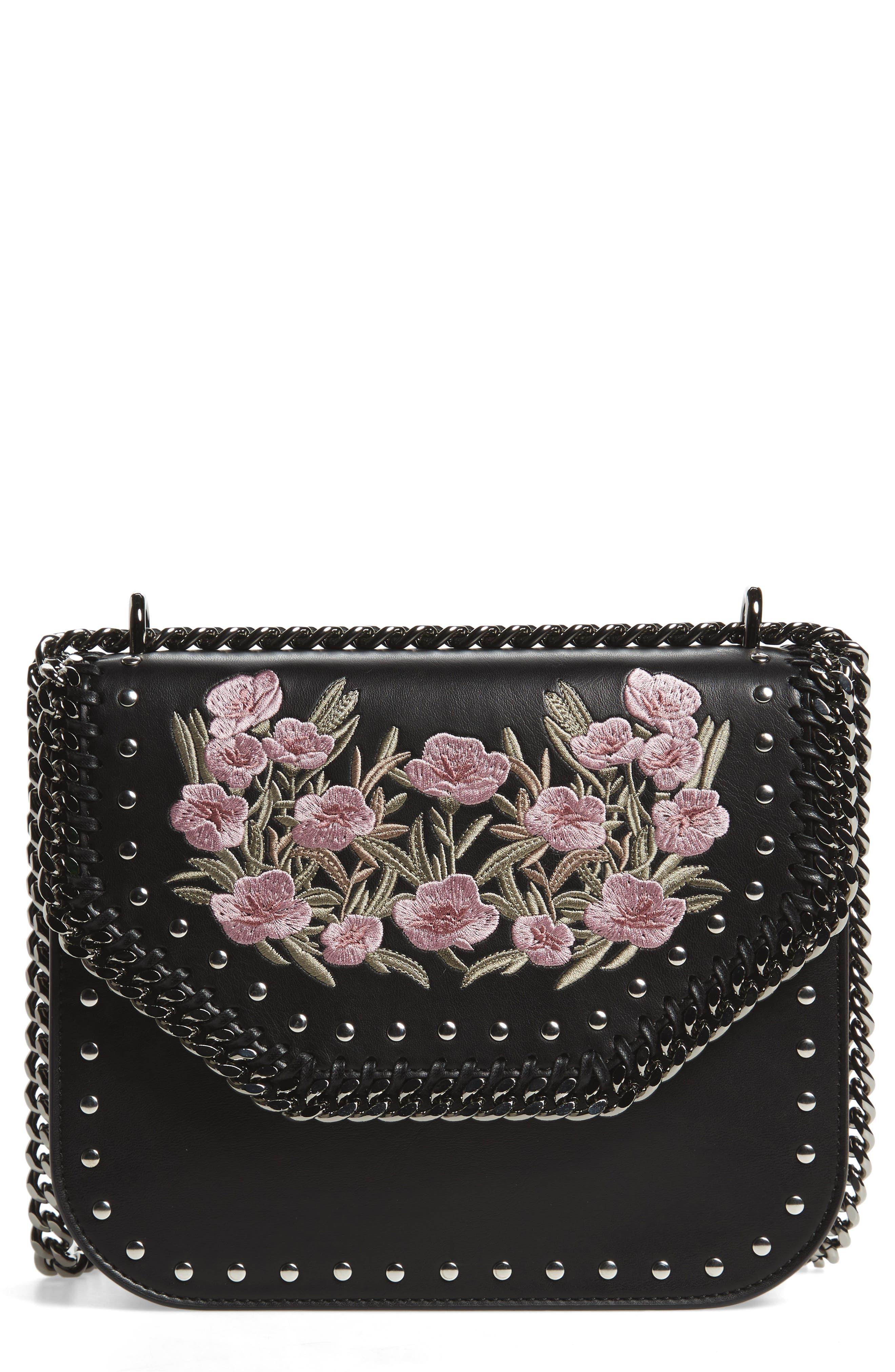 Medium Falabella Box Floral Shoulder Bag,                             Main thumbnail 1, color,                             Black