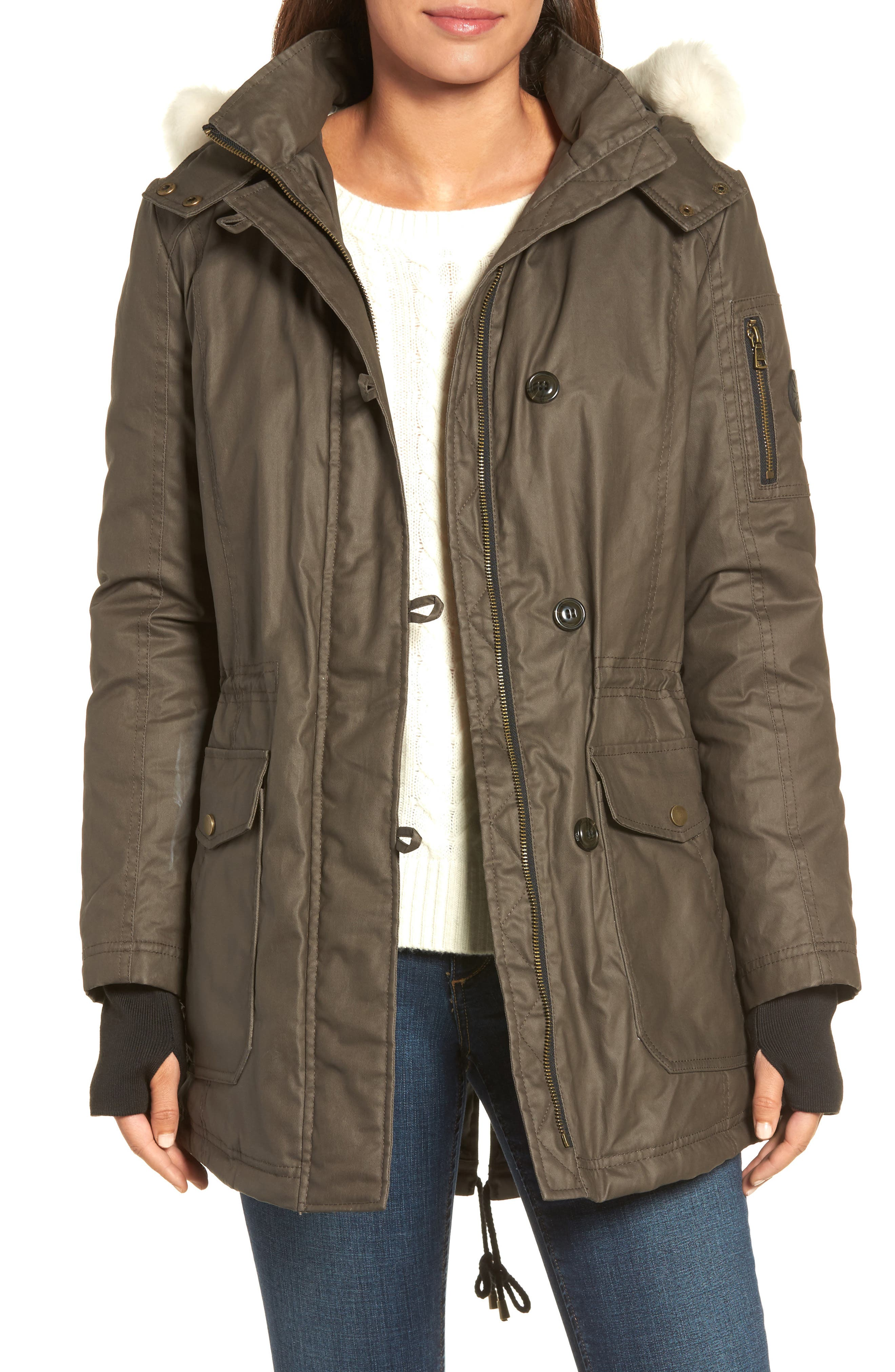 Genuine Shearling Trim Wax Coated Parka,                             Main thumbnail 1, color,                             Dark Olive