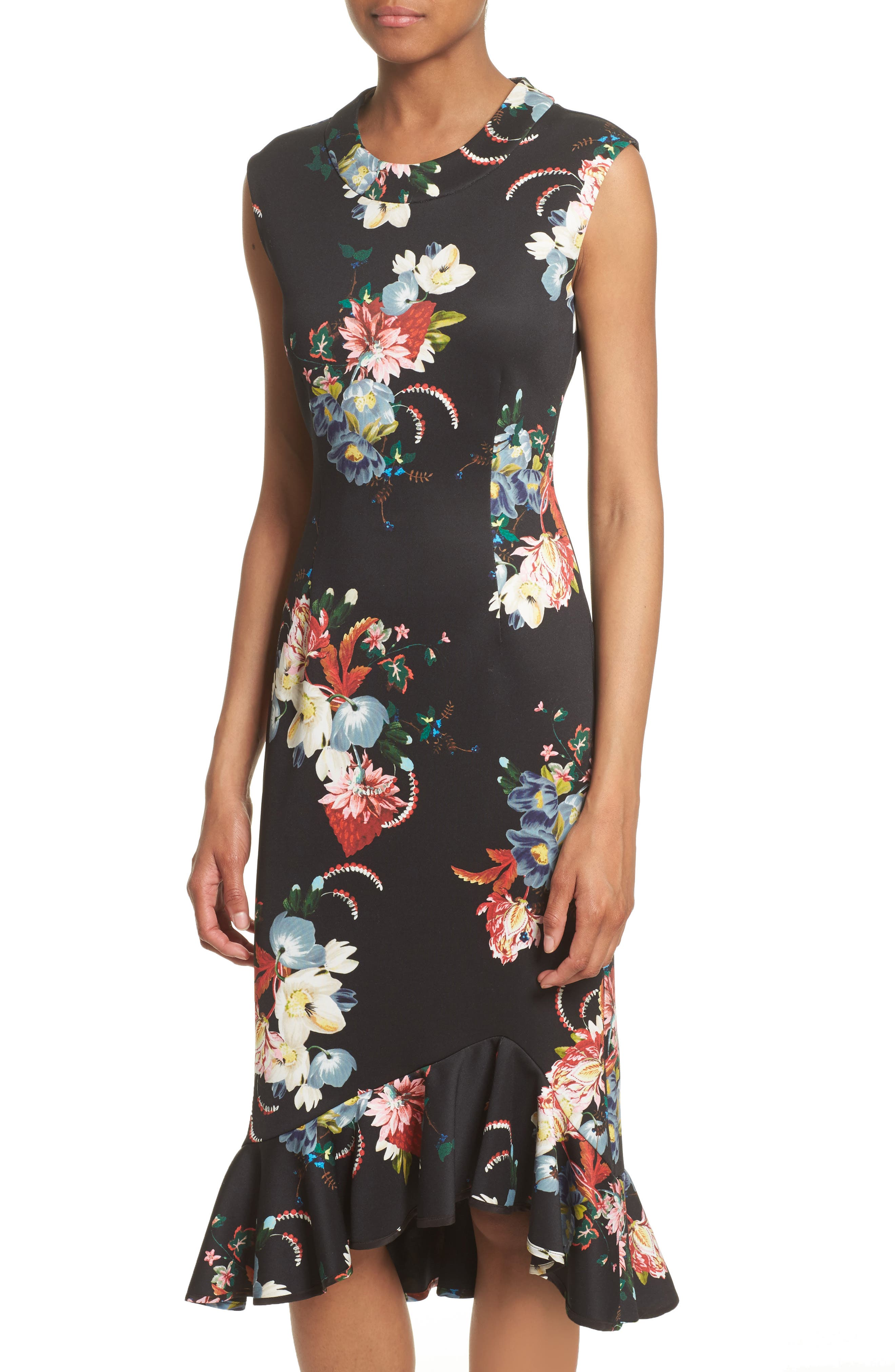 Floral Print Flounce Hem Cady Dress,                             Alternate thumbnail 7, color,                             Black/ Multi