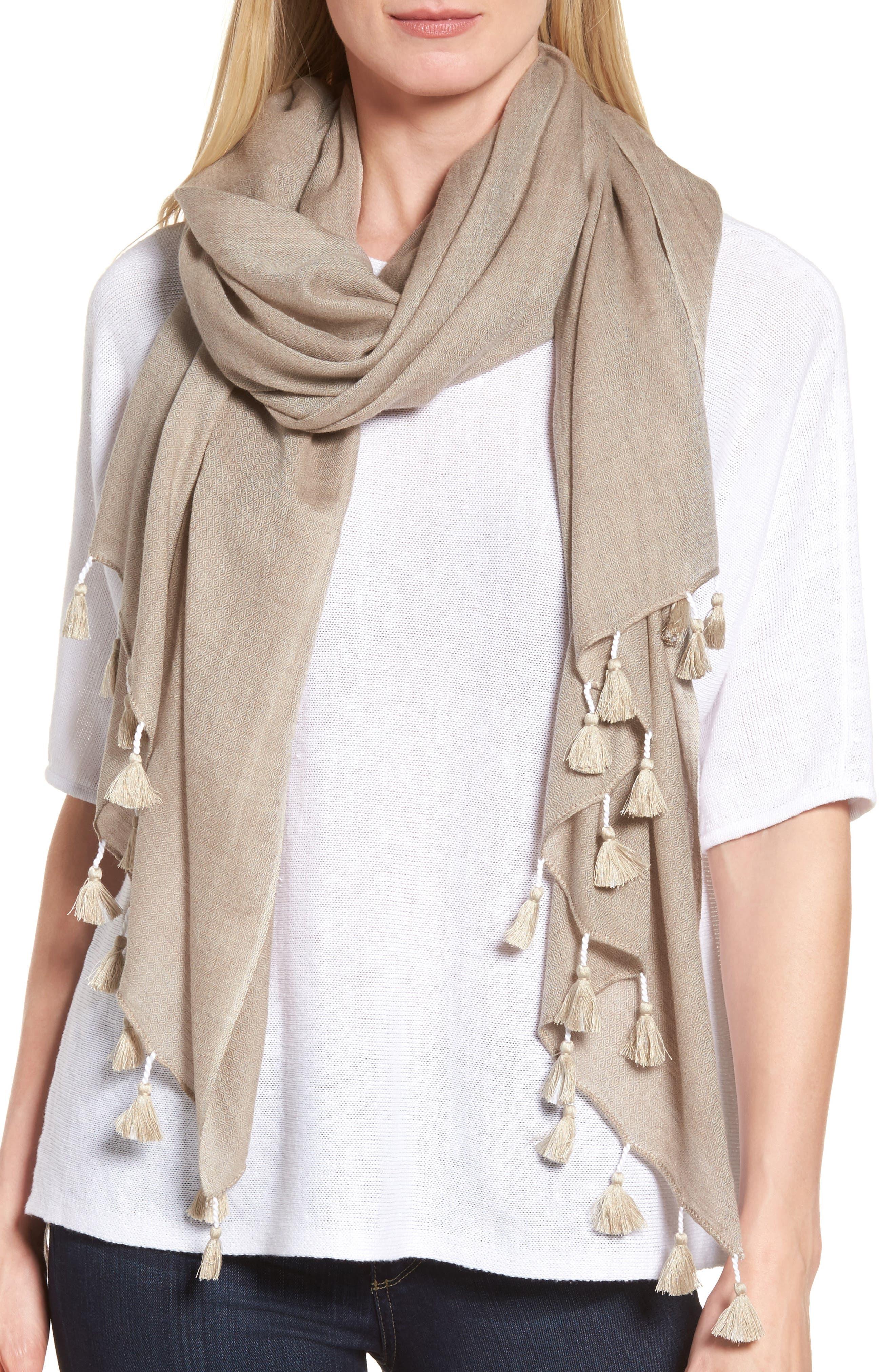 Eileen Fisher Tassel Trim Wool & Silk Scarf
