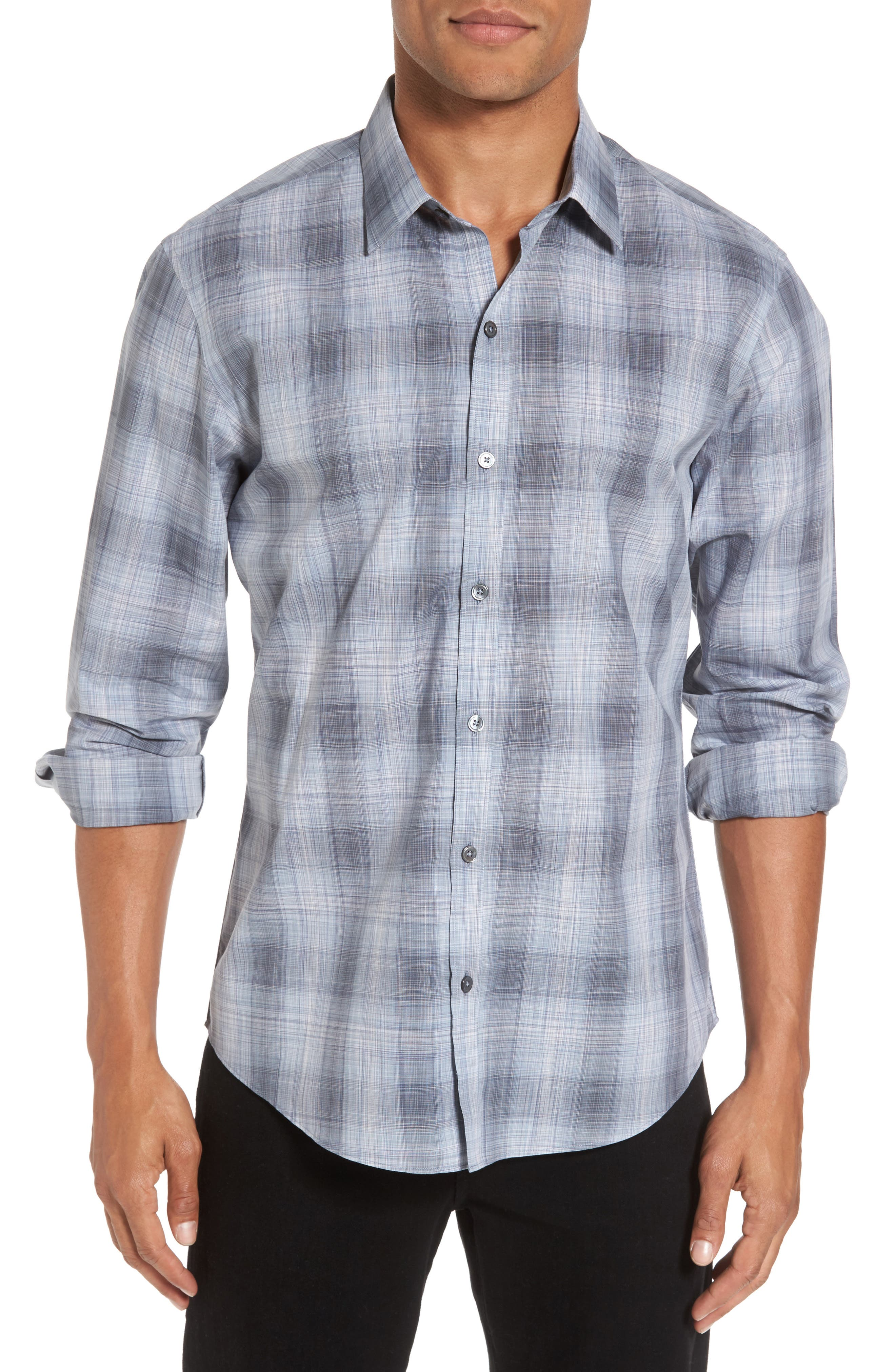 Perrygold Slim Fit Check Sport Shirt,                         Main,                         color, Grey