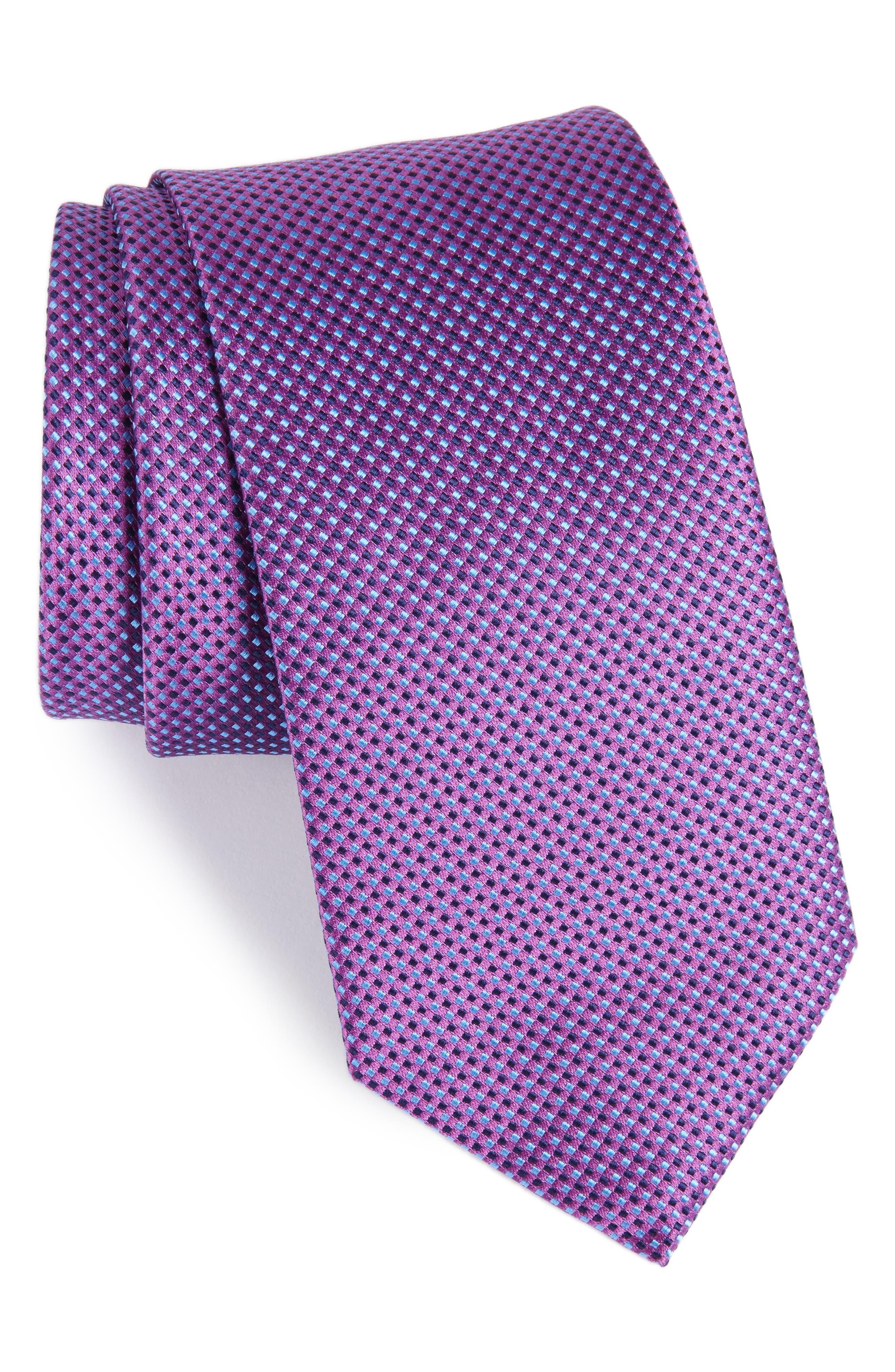 Microdot Silk Tie,                         Main,                         color, Purple