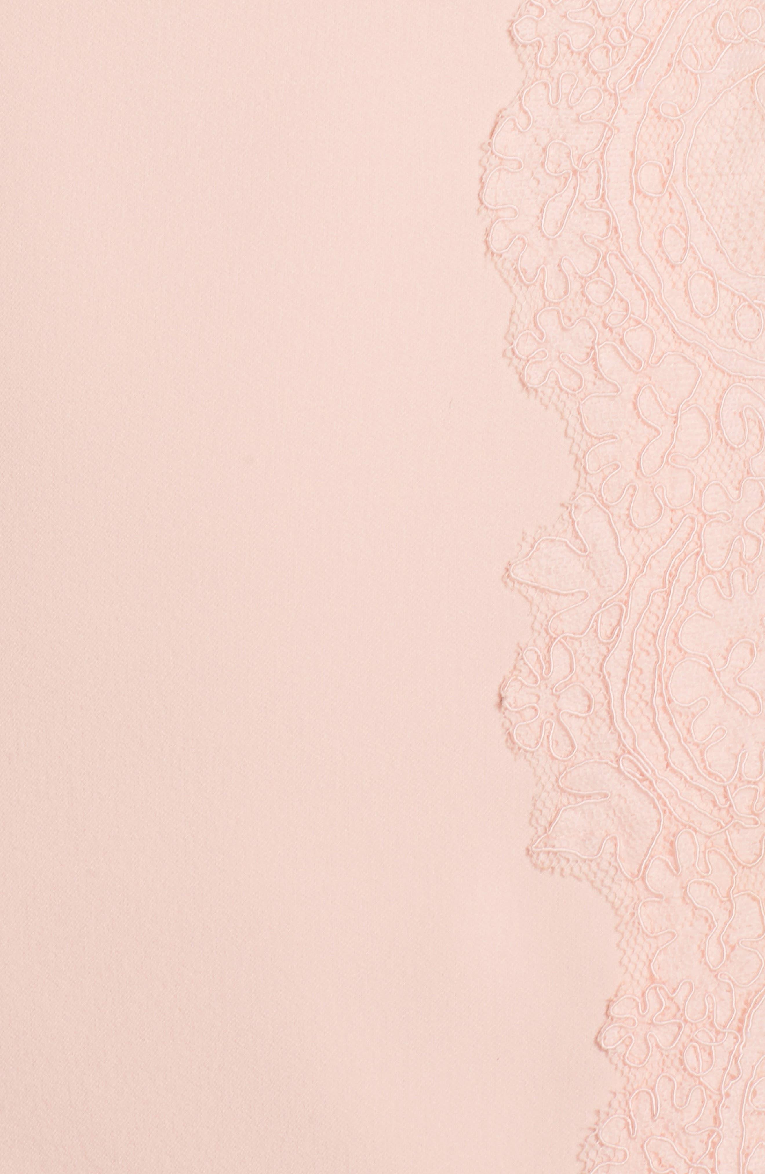 Lace Detail Crepe Sheath Dress,                             Alternate thumbnail 5, color,                             Blush