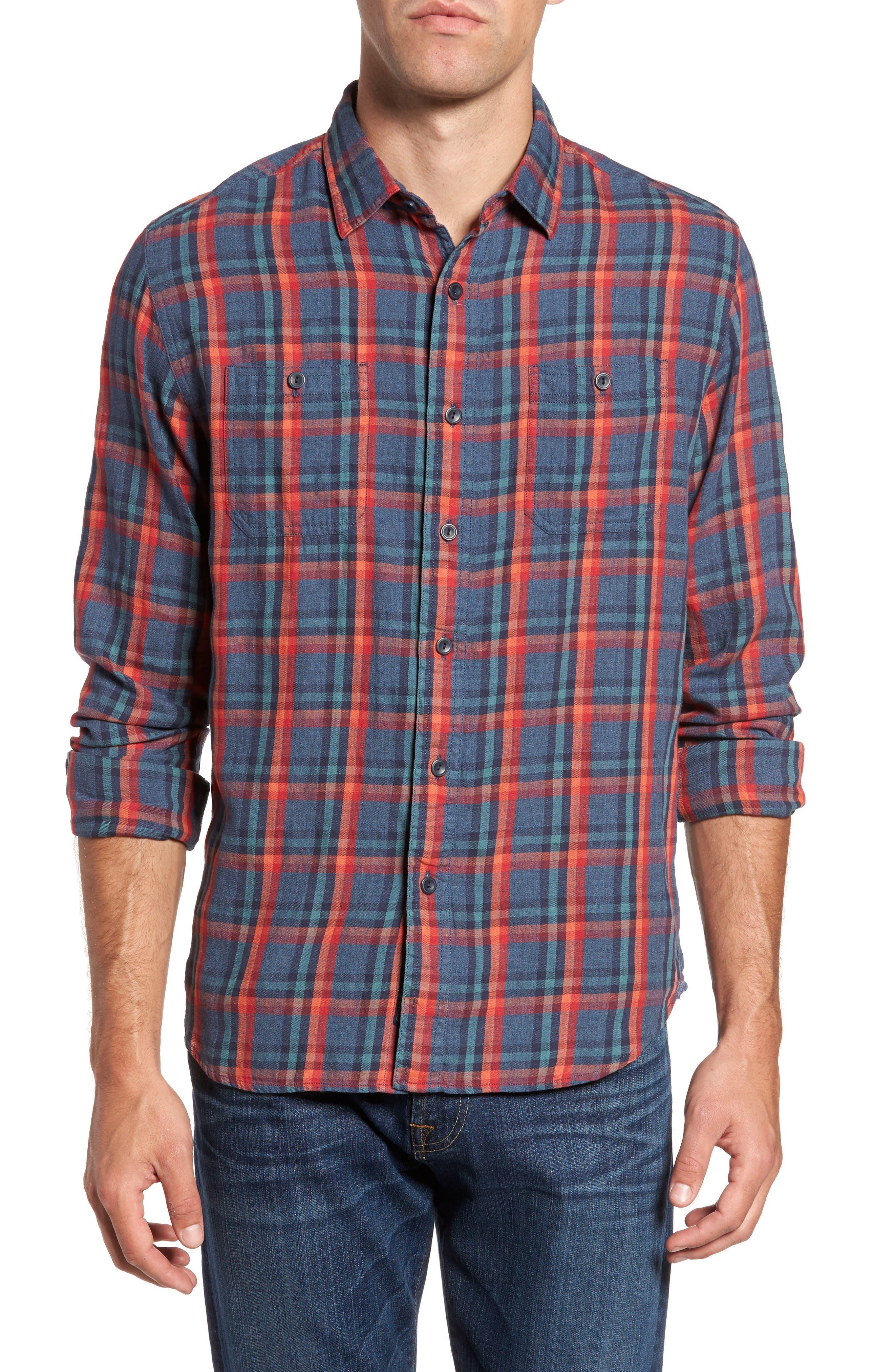 Grayers Trent Modern Fit Slubbed Windowpane Sport Shirt
