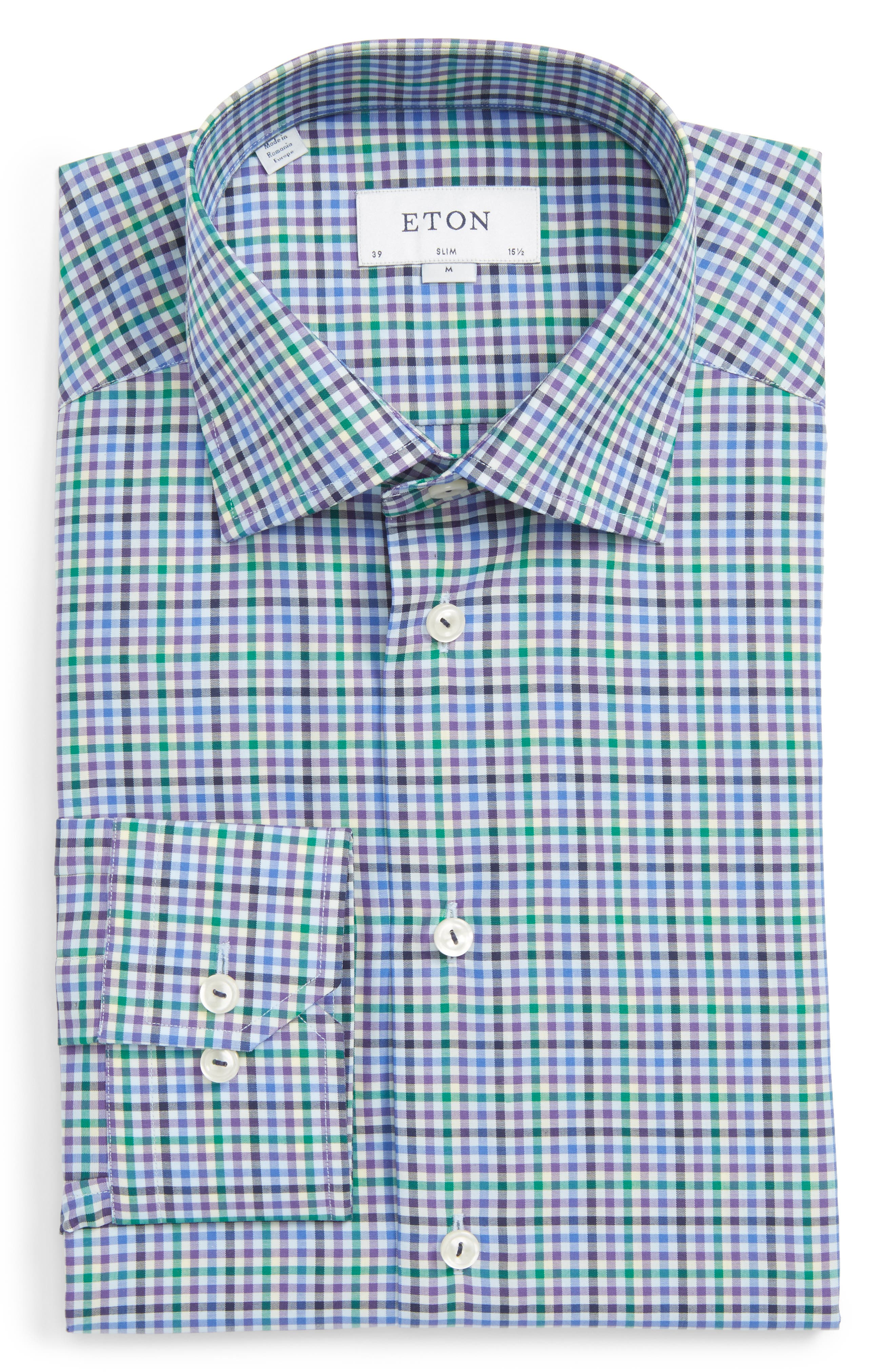 Slim Fit Check Dress Shirt,                         Main,                         color, Blue Multi Check