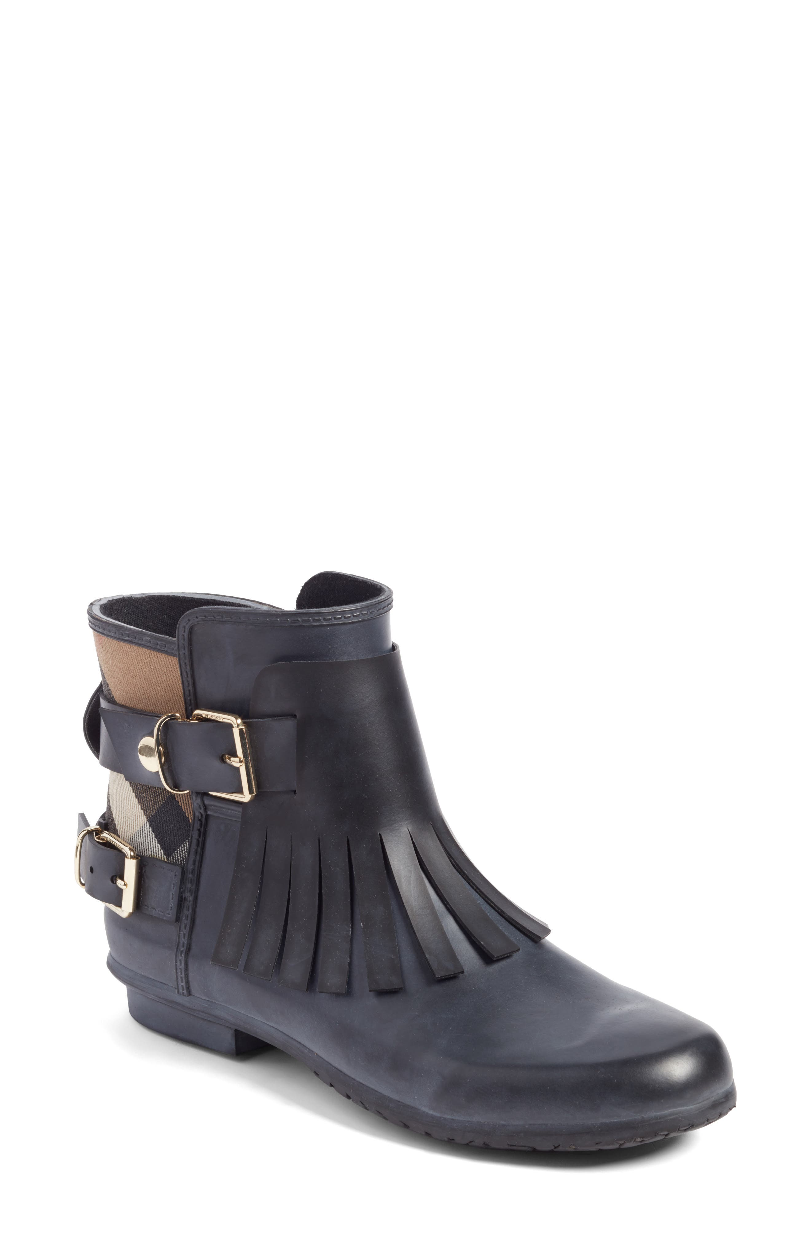 Alternate Image 1 Selected - Burberry Fringe Short Rain Bootie (Women)
